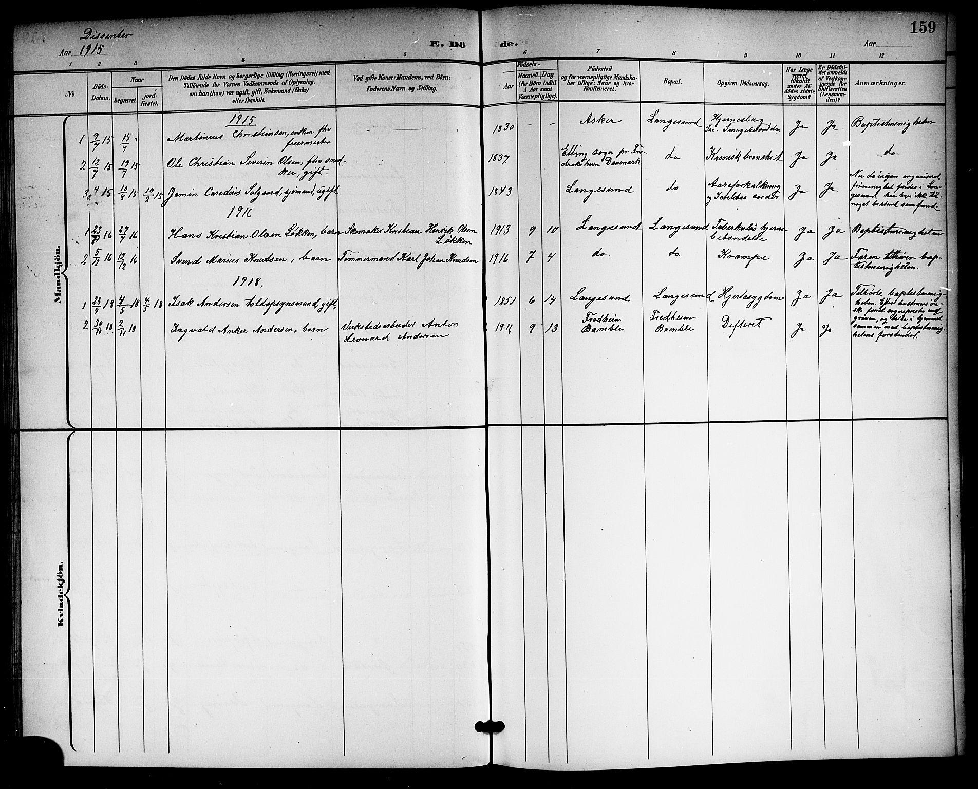 SAKO, Langesund kirkebøker, G/Ga/L0006: Klokkerbok nr. 6, 1899-1918, s. 159