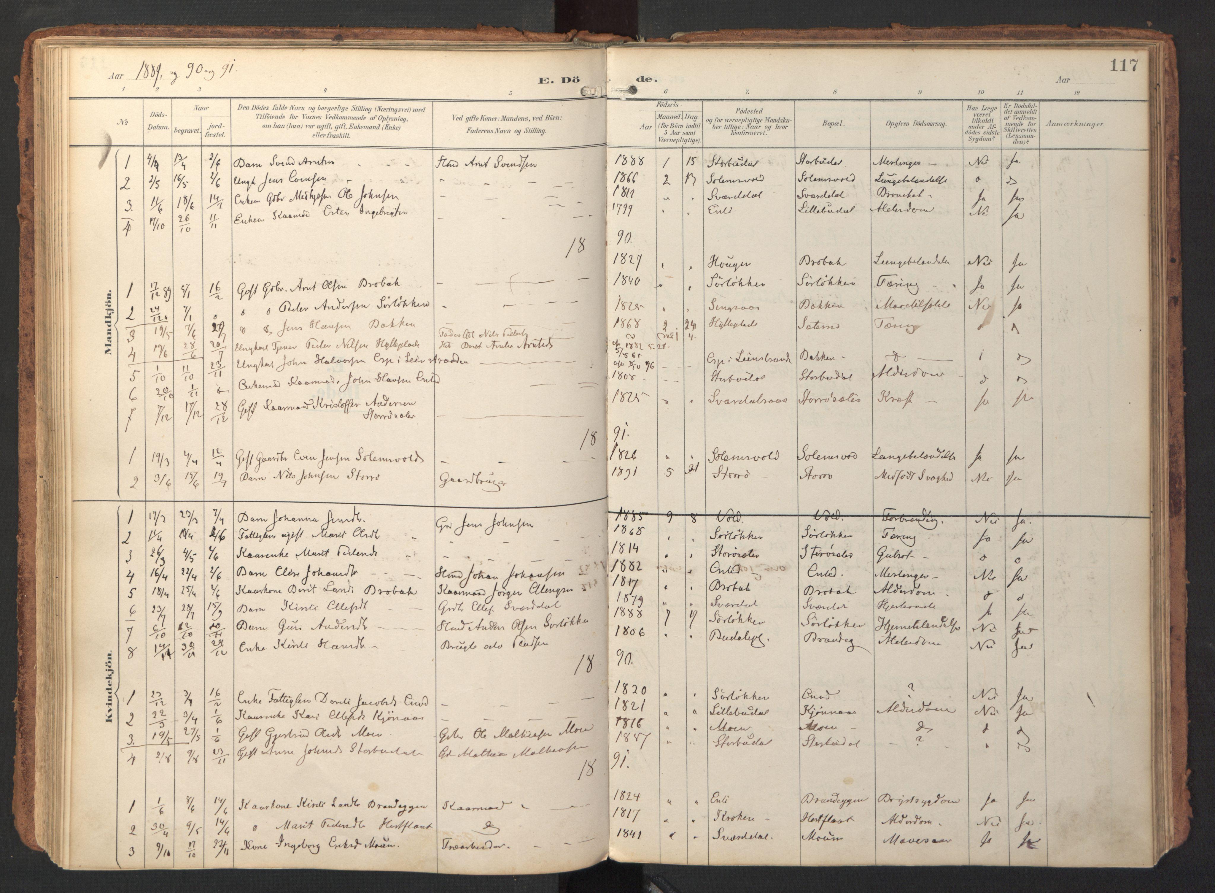 SAT, Ministerialprotokoller, klokkerbøker og fødselsregistre - Sør-Trøndelag, 690/L1050: Ministerialbok nr. 690A01, 1889-1929, s. 117