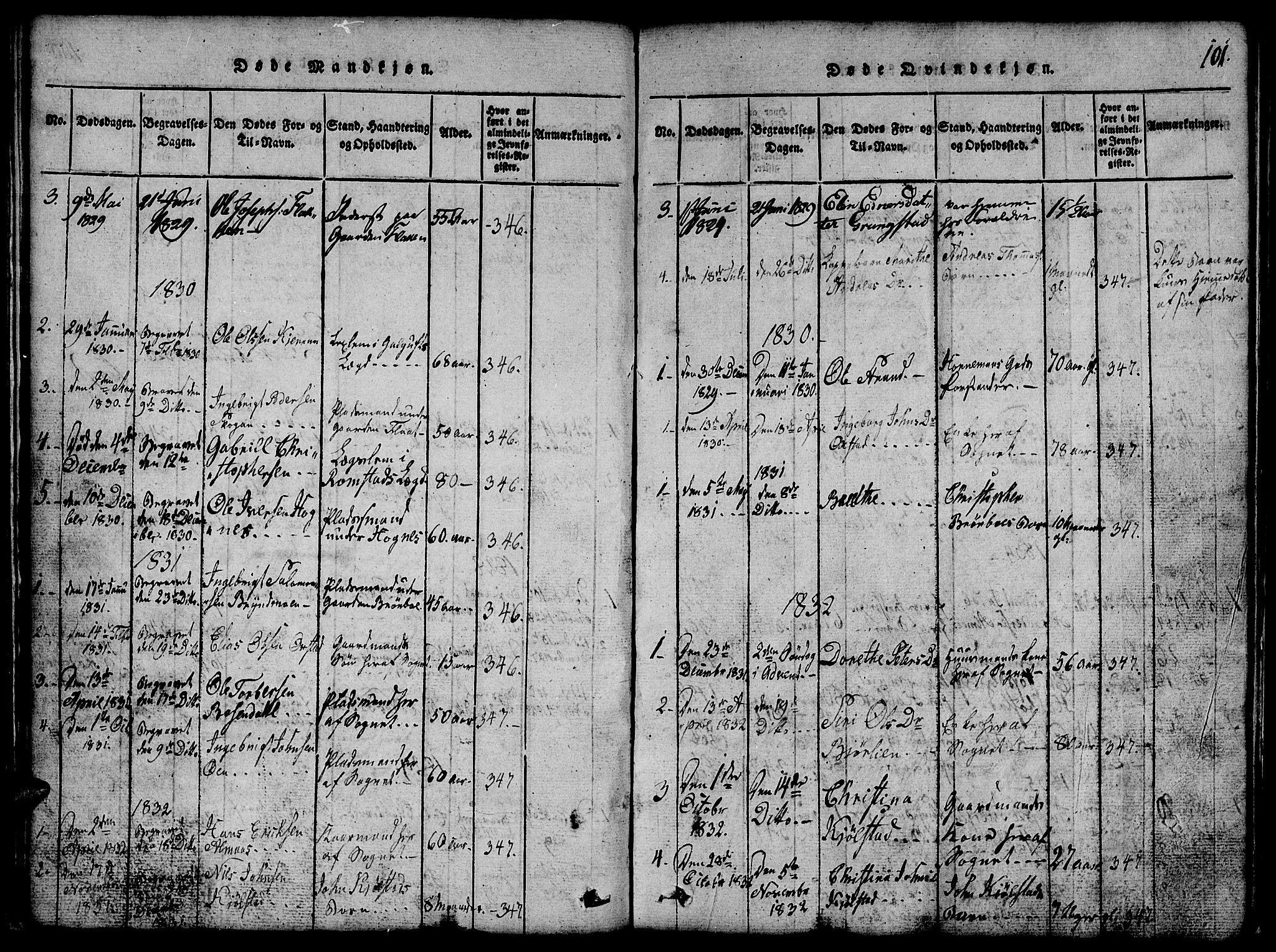 SAT, Ministerialprotokoller, klokkerbøker og fødselsregistre - Nord-Trøndelag, 765/L0562: Klokkerbok nr. 765C01, 1817-1851, s. 101
