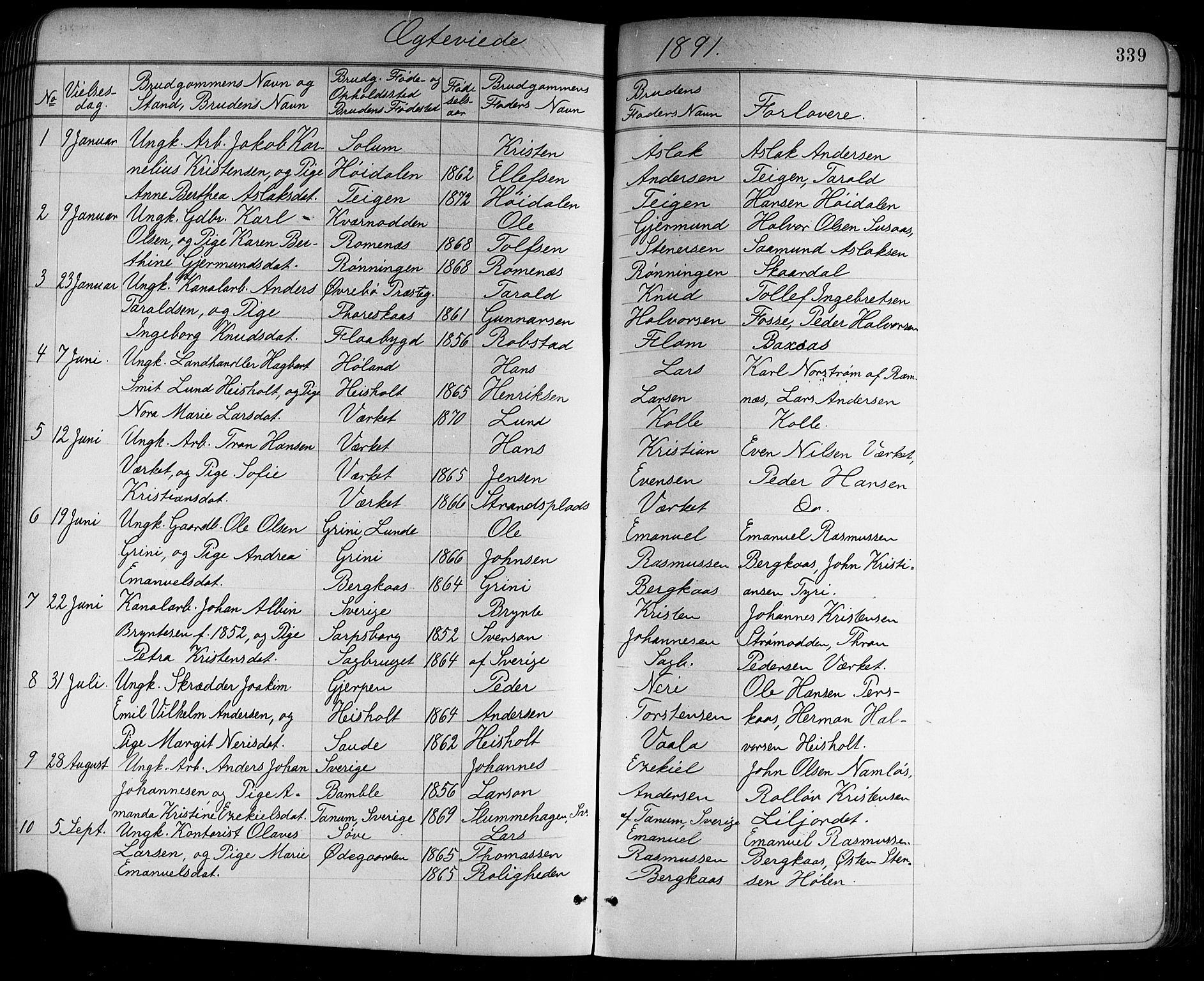 SAKO, Holla kirkebøker, G/Ga/L0005: Klokkerbok nr. I 5, 1891-1917, s. 339