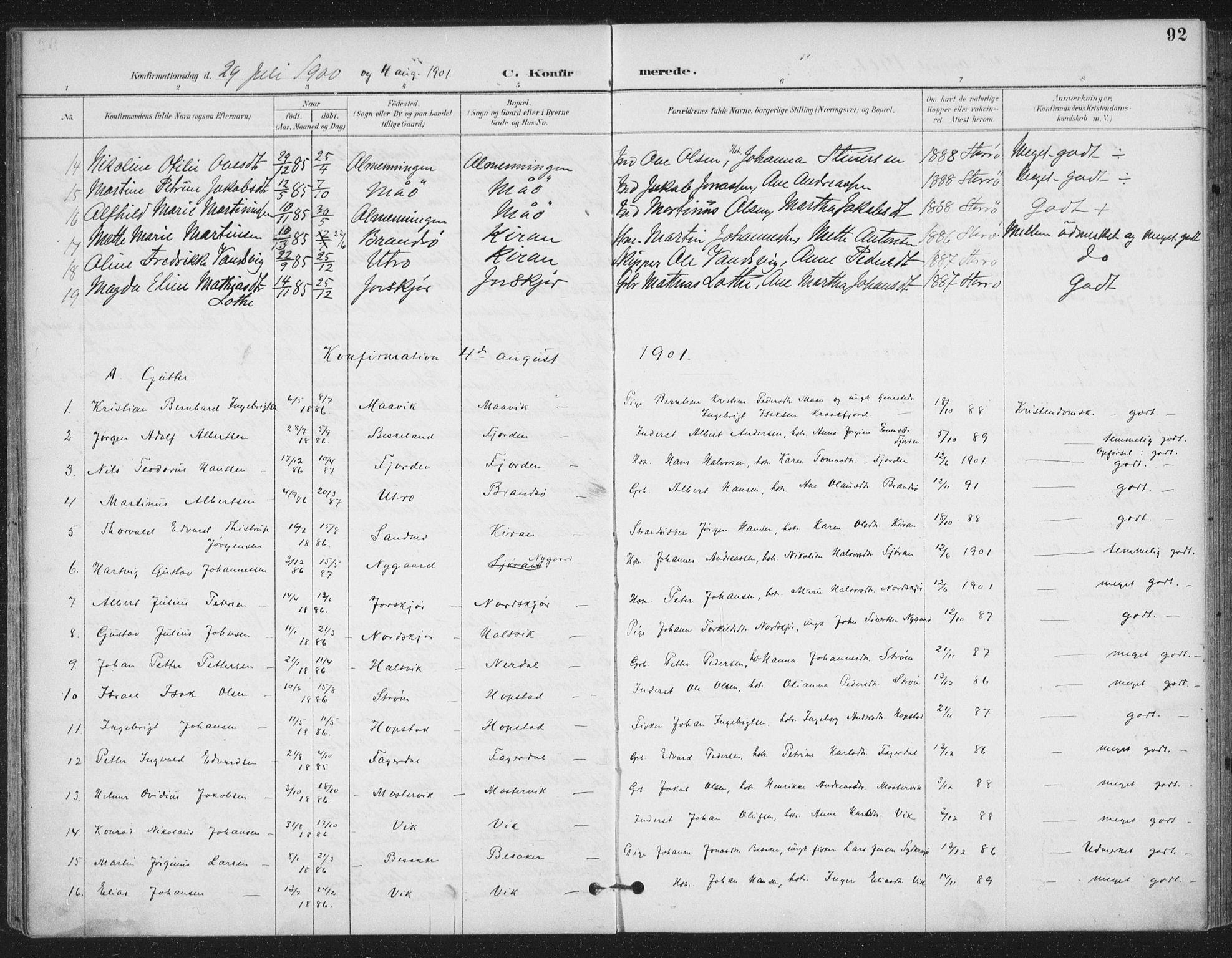 SAT, Ministerialprotokoller, klokkerbøker og fødselsregistre - Sør-Trøndelag, 657/L0708: Ministerialbok nr. 657A09, 1894-1904, s. 92