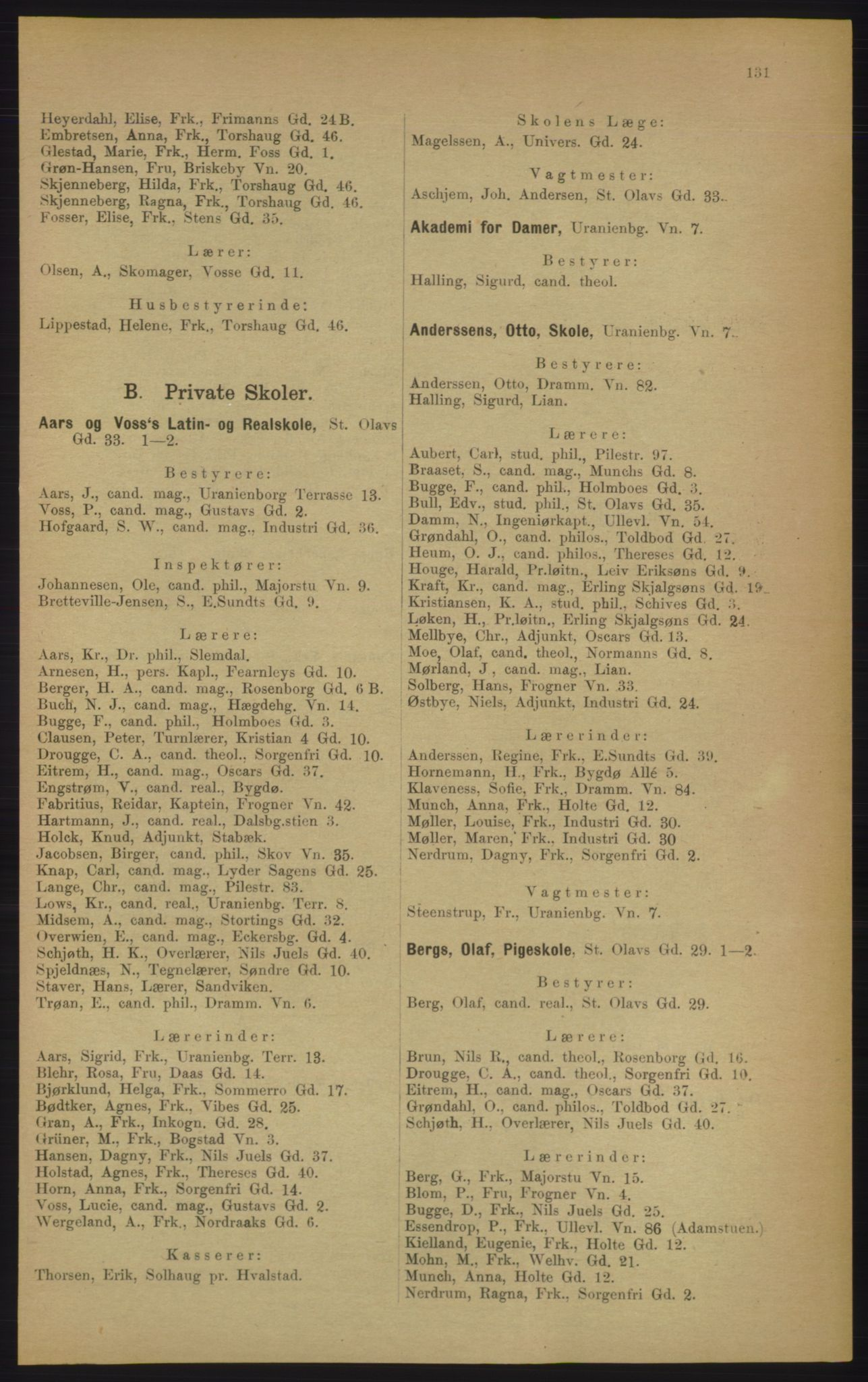 RA, Kristiania adressebok (publikasjon)*, 1906, s. 131