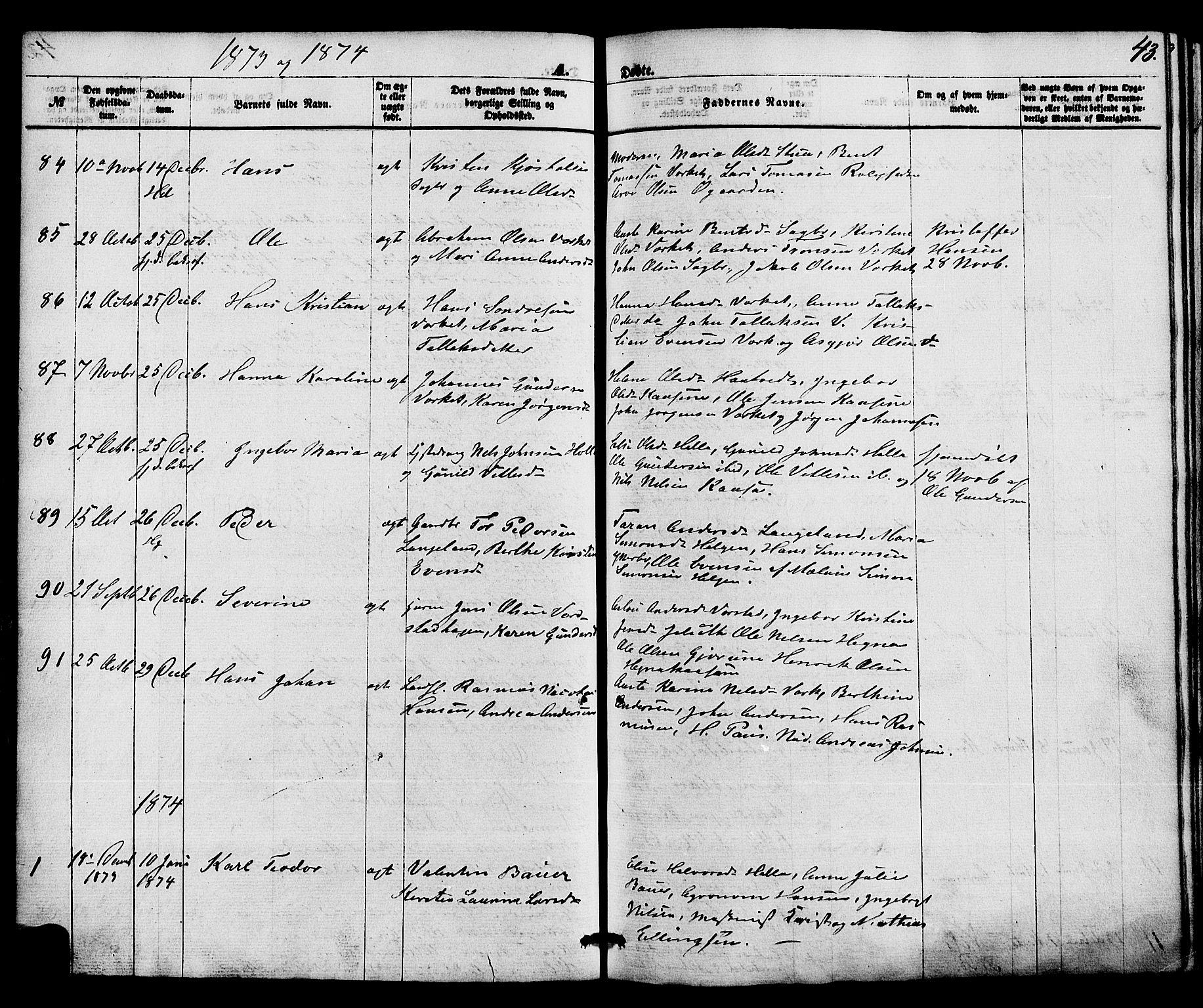 SAKO, Holla kirkebøker, F/Fa/L0007: Ministerialbok nr. 7, 1869-1881, s. 43