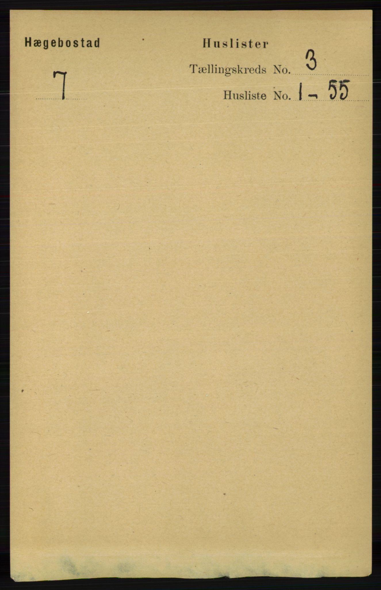 RA, Folketelling 1891 for 1034 Hægebostad herred, 1891, s. 814