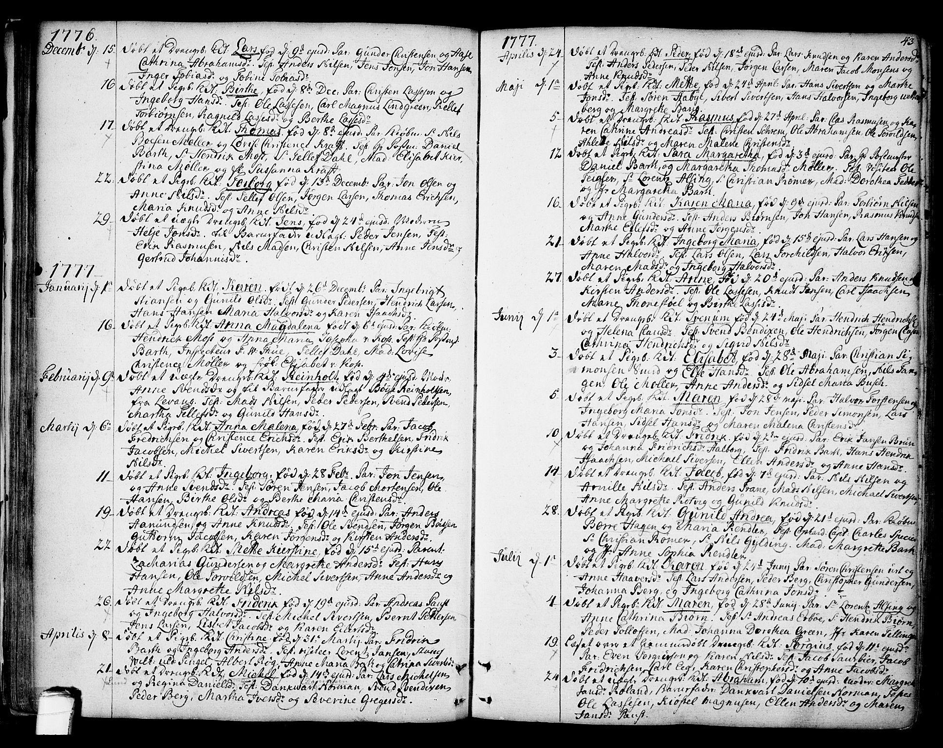 SAKO, Kragerø kirkebøker, F/Fa/L0002: Ministerialbok nr. 2, 1767-1802, s. 43