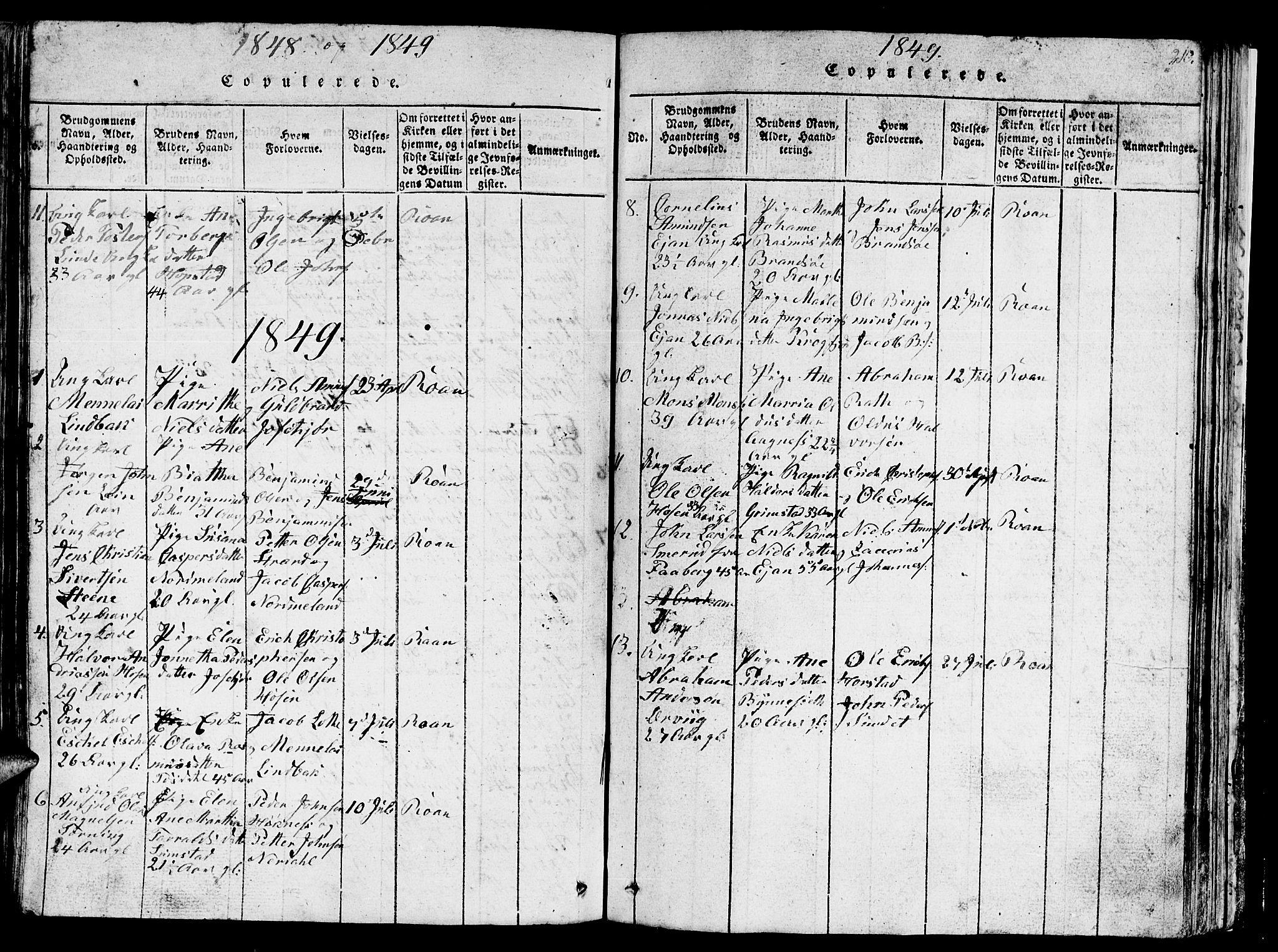 SAT, Ministerialprotokoller, klokkerbøker og fødselsregistre - Sør-Trøndelag, 657/L0714: Klokkerbok nr. 657C01, 1818-1868, s. 210
