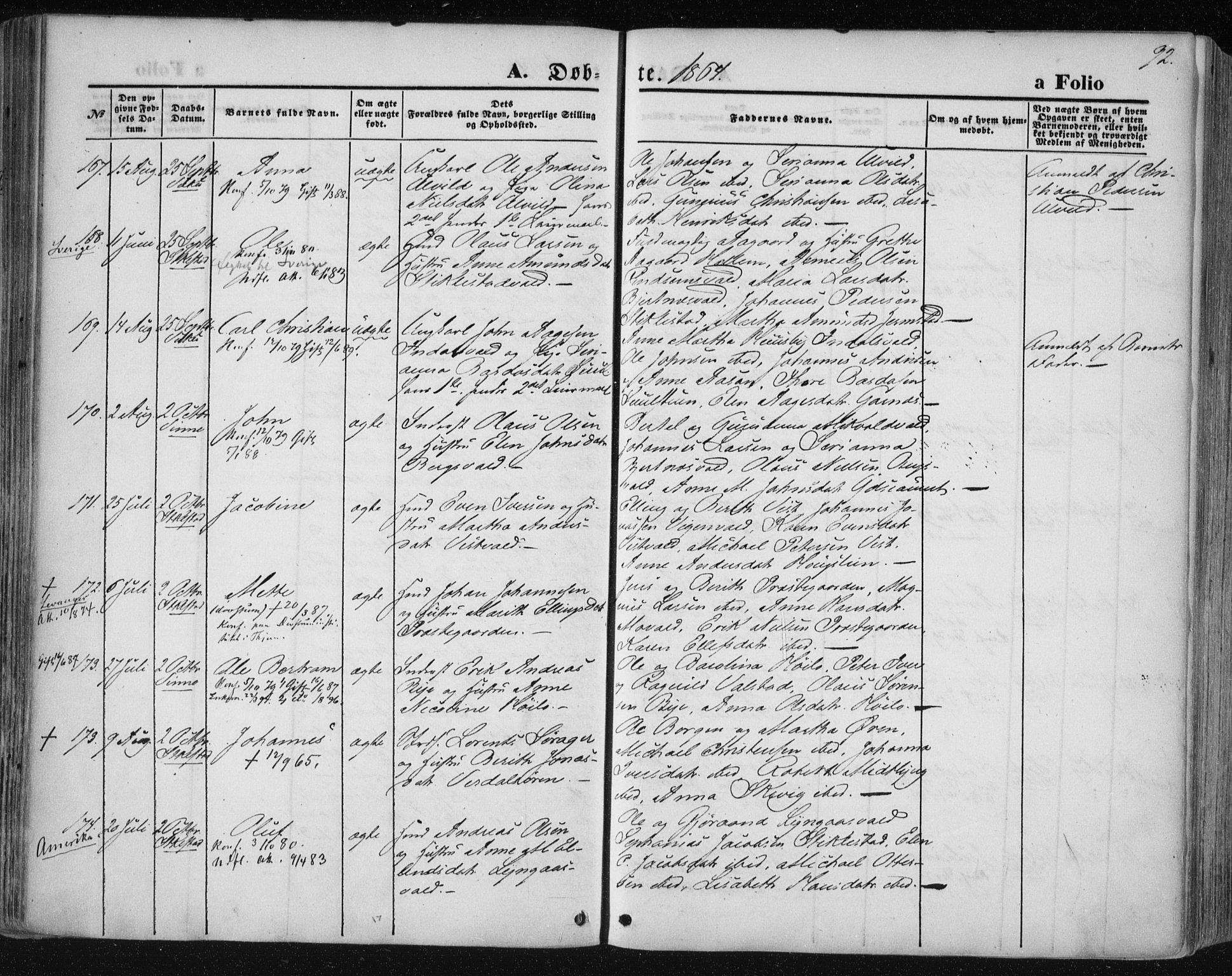 SAT, Ministerialprotokoller, klokkerbøker og fødselsregistre - Nord-Trøndelag, 723/L0241: Ministerialbok nr. 723A10, 1860-1869, s. 92