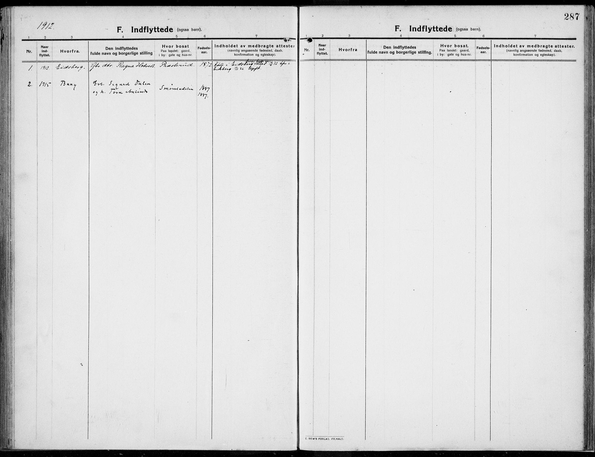 SAH, Kolbu prestekontor, Ministerialbok nr. 2, 1912-1926, s. 287