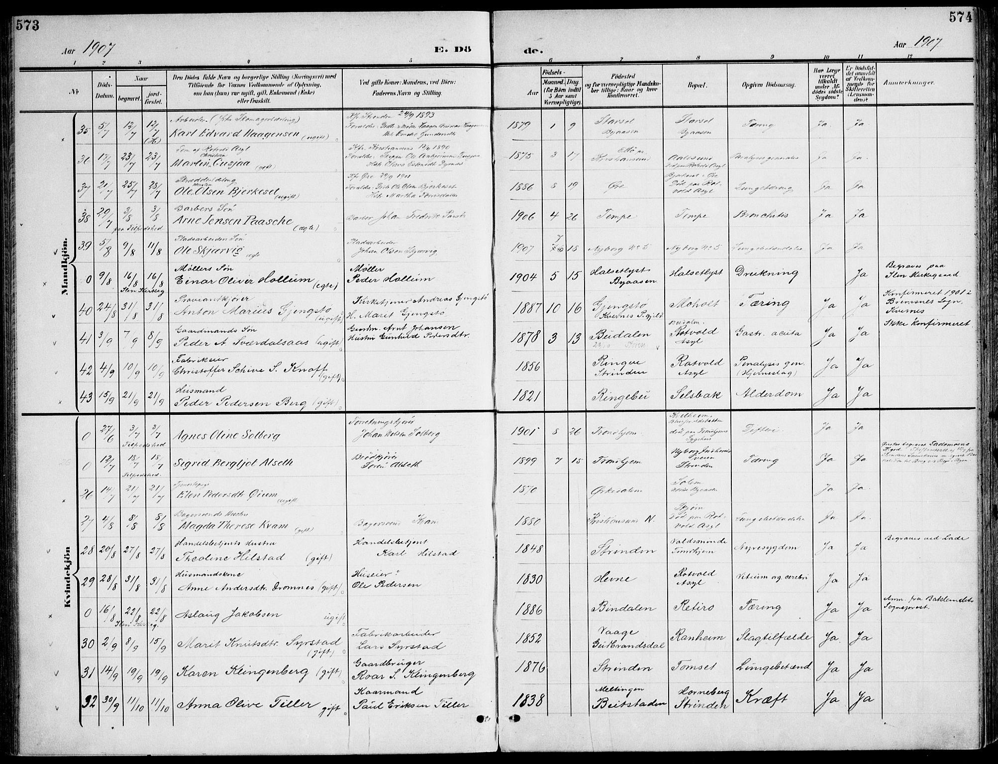 SAT, Ministerialprotokoller, klokkerbøker og fødselsregistre - Sør-Trøndelag, 607/L0320: Ministerialbok nr. 607A04, 1907-1915, s. 573-574