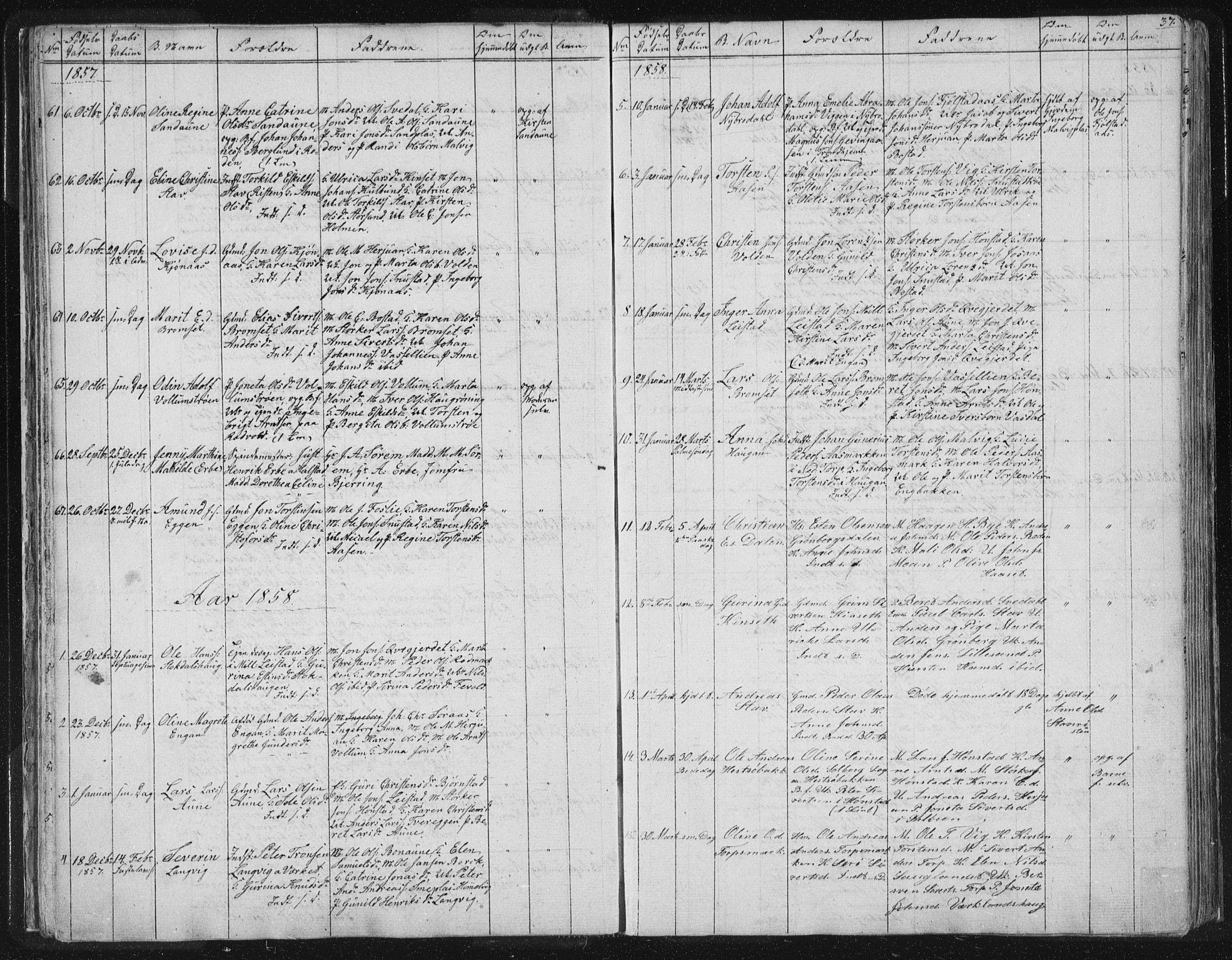 SAT, Ministerialprotokoller, klokkerbøker og fødselsregistre - Sør-Trøndelag, 616/L0406: Ministerialbok nr. 616A03, 1843-1879, s. 37