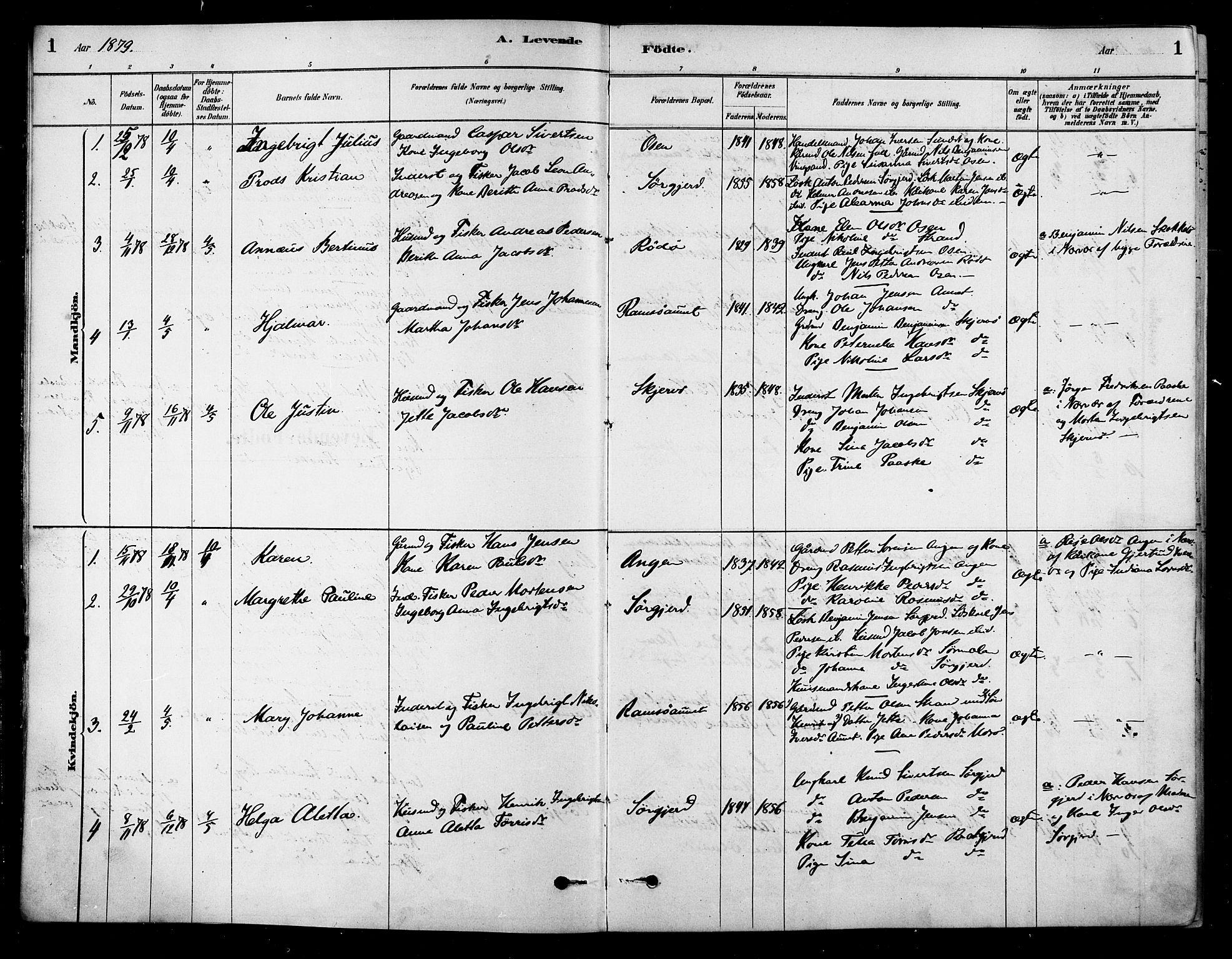 SAT, Ministerialprotokoller, klokkerbøker og fødselsregistre - Sør-Trøndelag, 658/L0722: Ministerialbok nr. 658A01, 1879-1896, s. 1