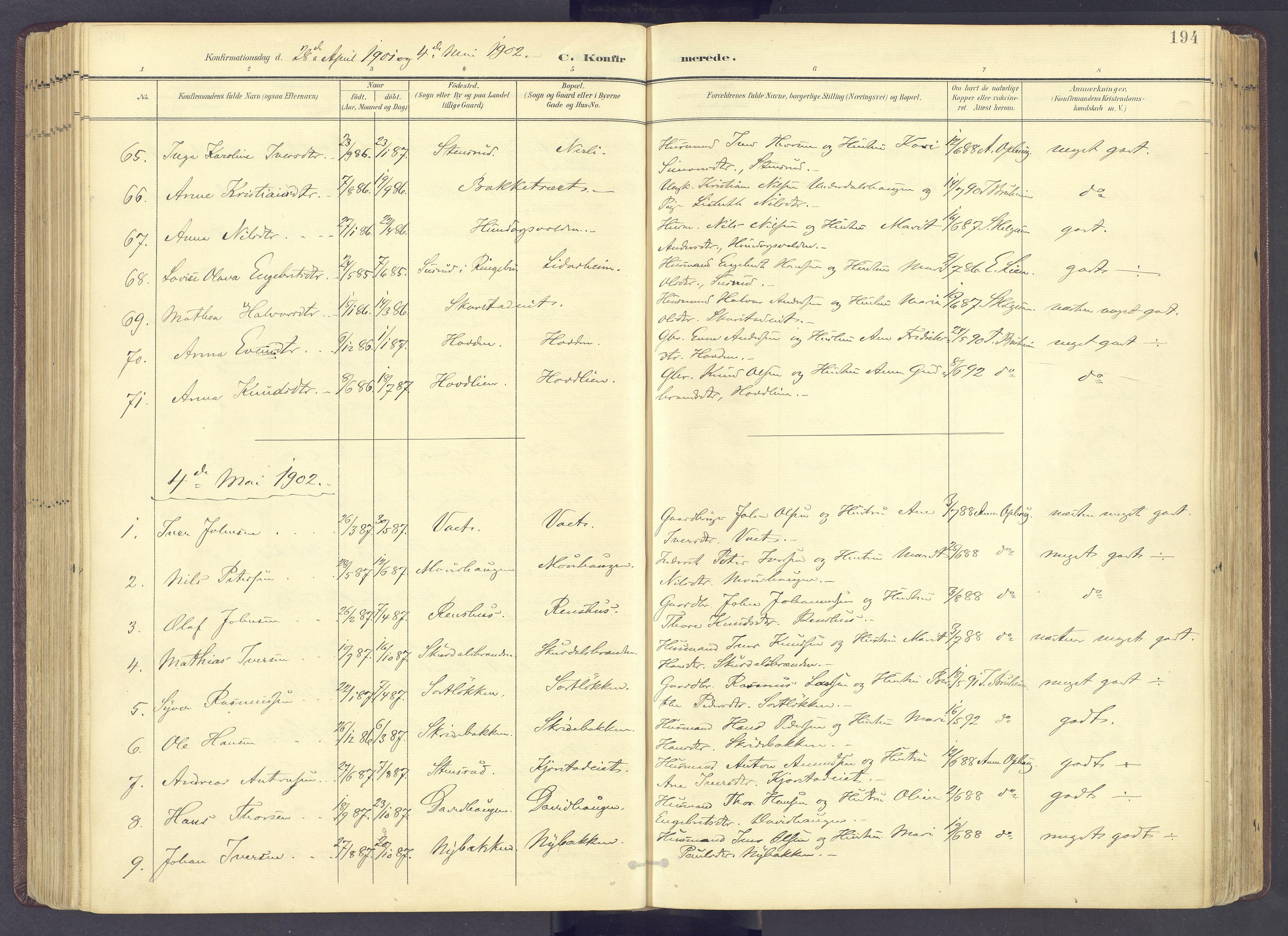 SAH, Sør-Fron prestekontor, H/Ha/Haa/L0004: Ministerialbok nr. 4, 1898-1919, s. 194
