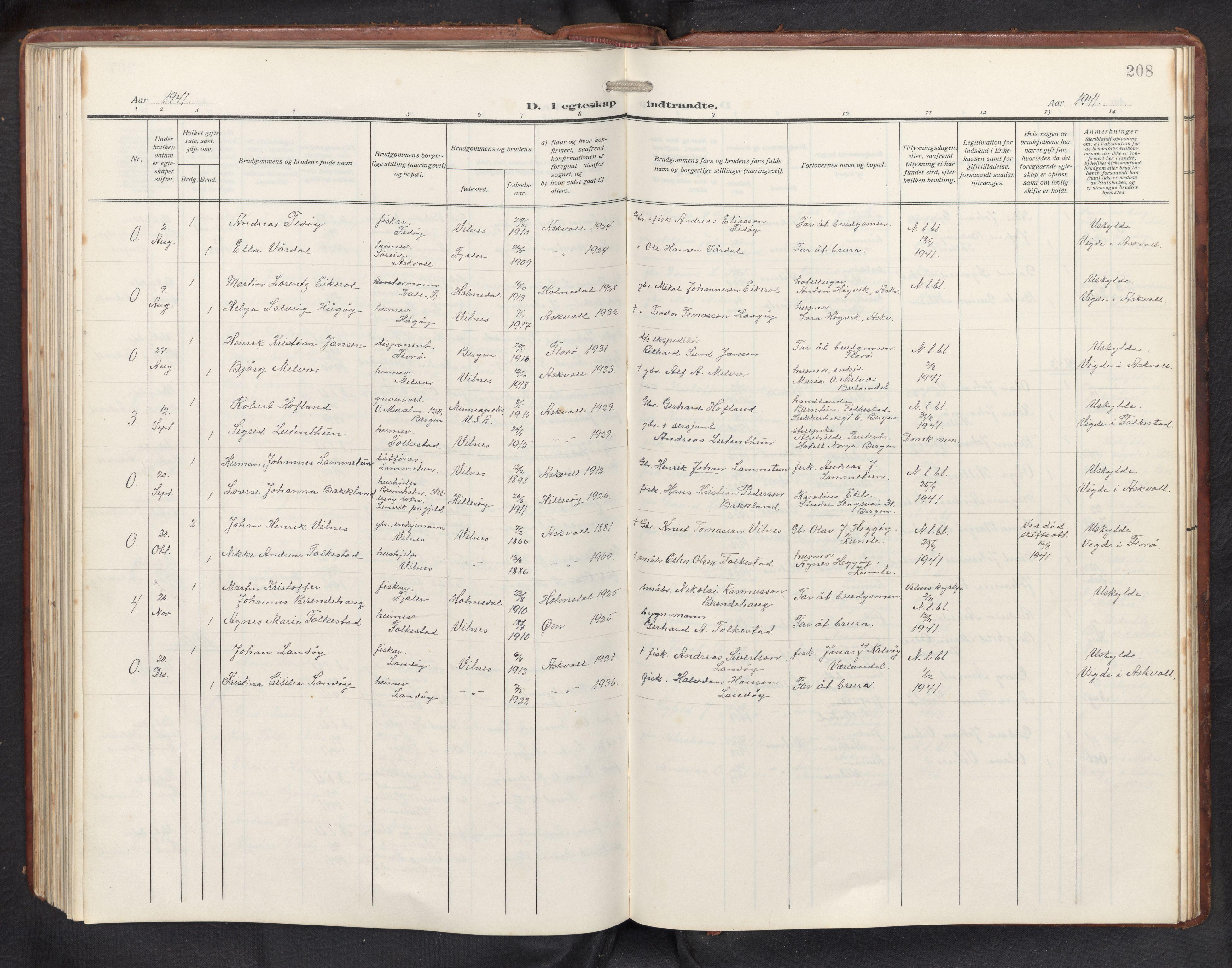 SAB, Askvoll sokneprestembete, H/Hab/Habb/L0002: Klokkerbok nr. B 2, 1910-1947, s. 207b-208a