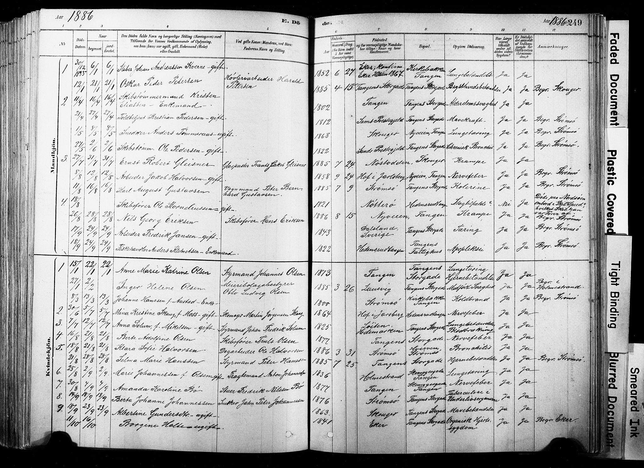 SAKO, Strømsø kirkebøker, F/Fb/L0006: Ministerialbok nr. II 6, 1879-1910, s. 249
