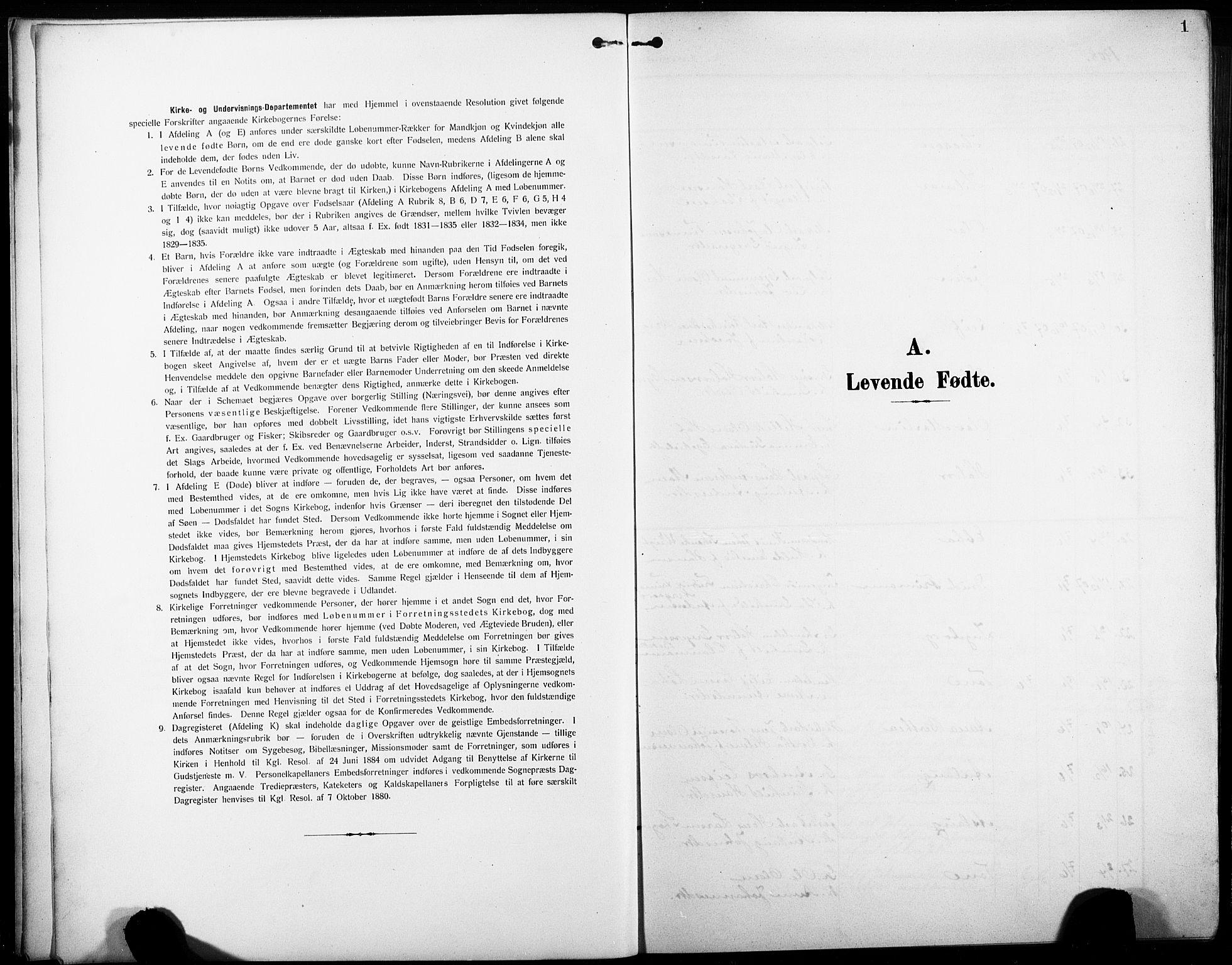 SAKO, Heddal kirkebøker, G/Ga/L0003: Klokkerbok nr. I 3, 1908-1932, s. 1