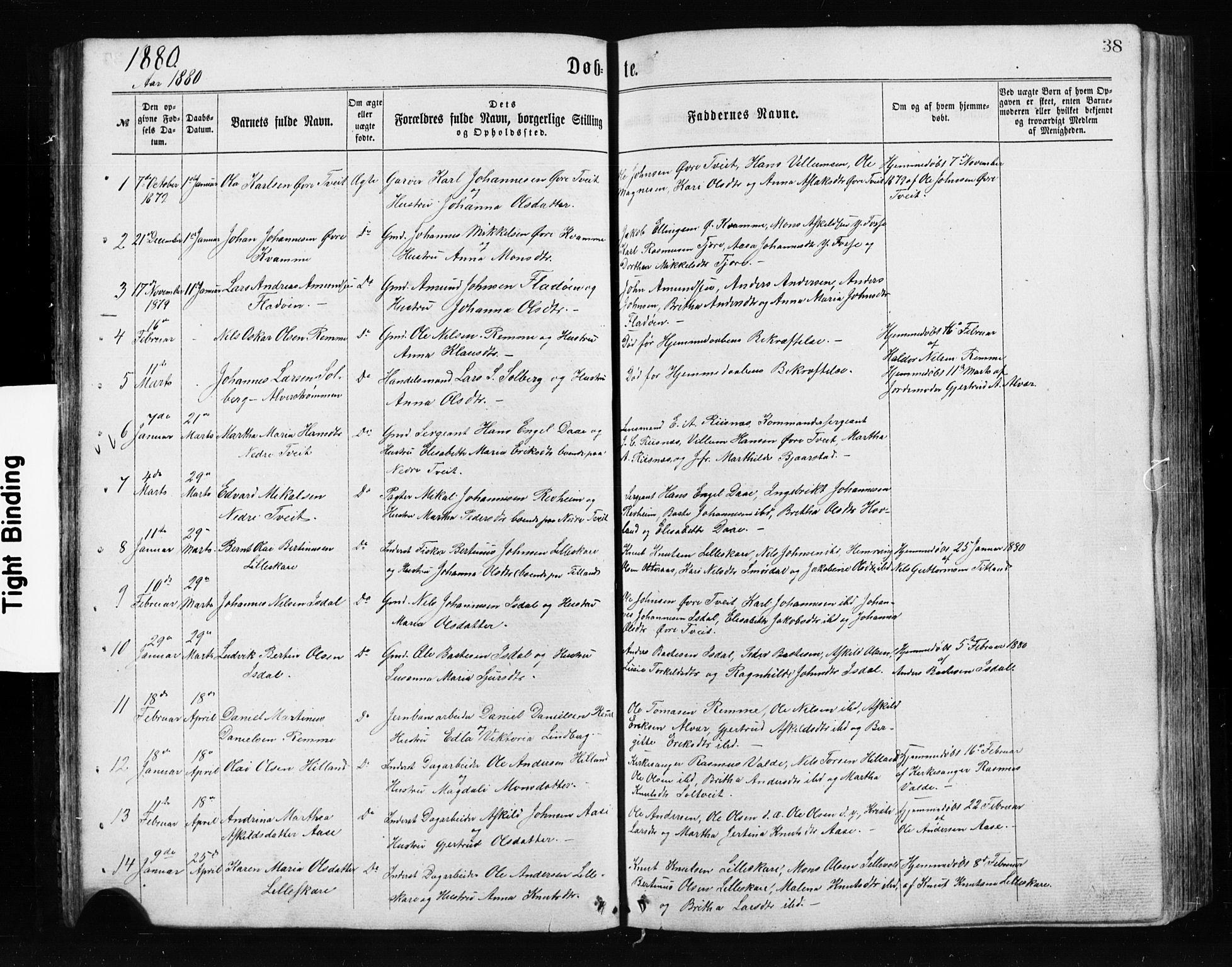 SAB, Alversund Sokneprestembete, H/Hab: Klokkerbok nr. A 2, 1864-1905, s. 38