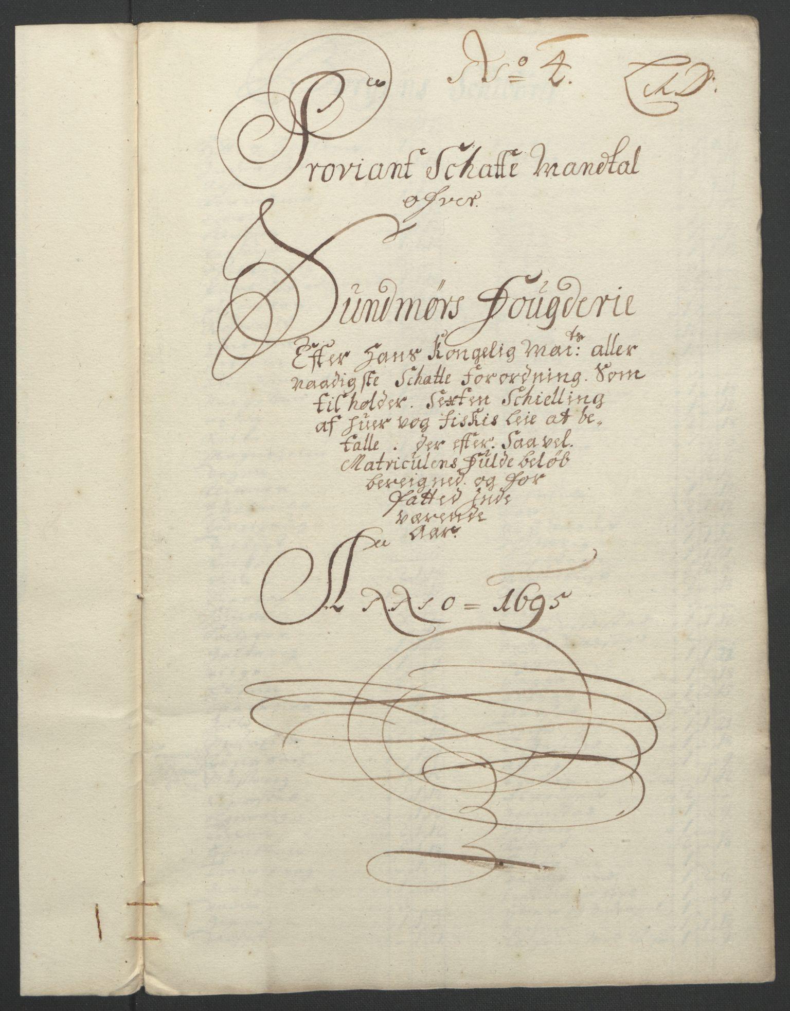 RA, Rentekammeret inntil 1814, Reviderte regnskaper, Fogderegnskap, R54/L3555: Fogderegnskap Sunnmøre, 1694-1695, s. 257
