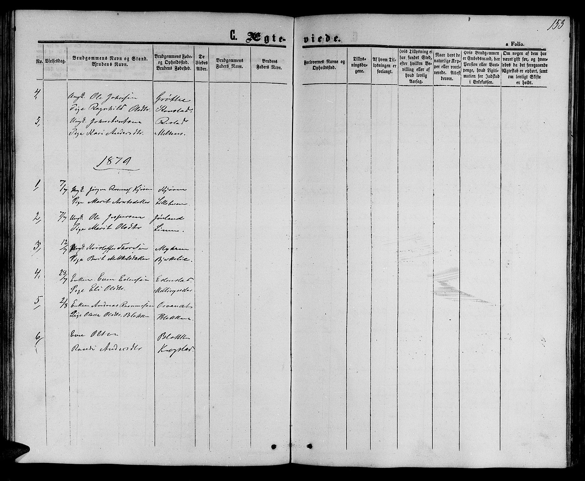 SAT, Ministerialprotokoller, klokkerbøker og fødselsregistre - Sør-Trøndelag, 694/L1131: Klokkerbok nr. 694C03, 1858-1886, s. 153