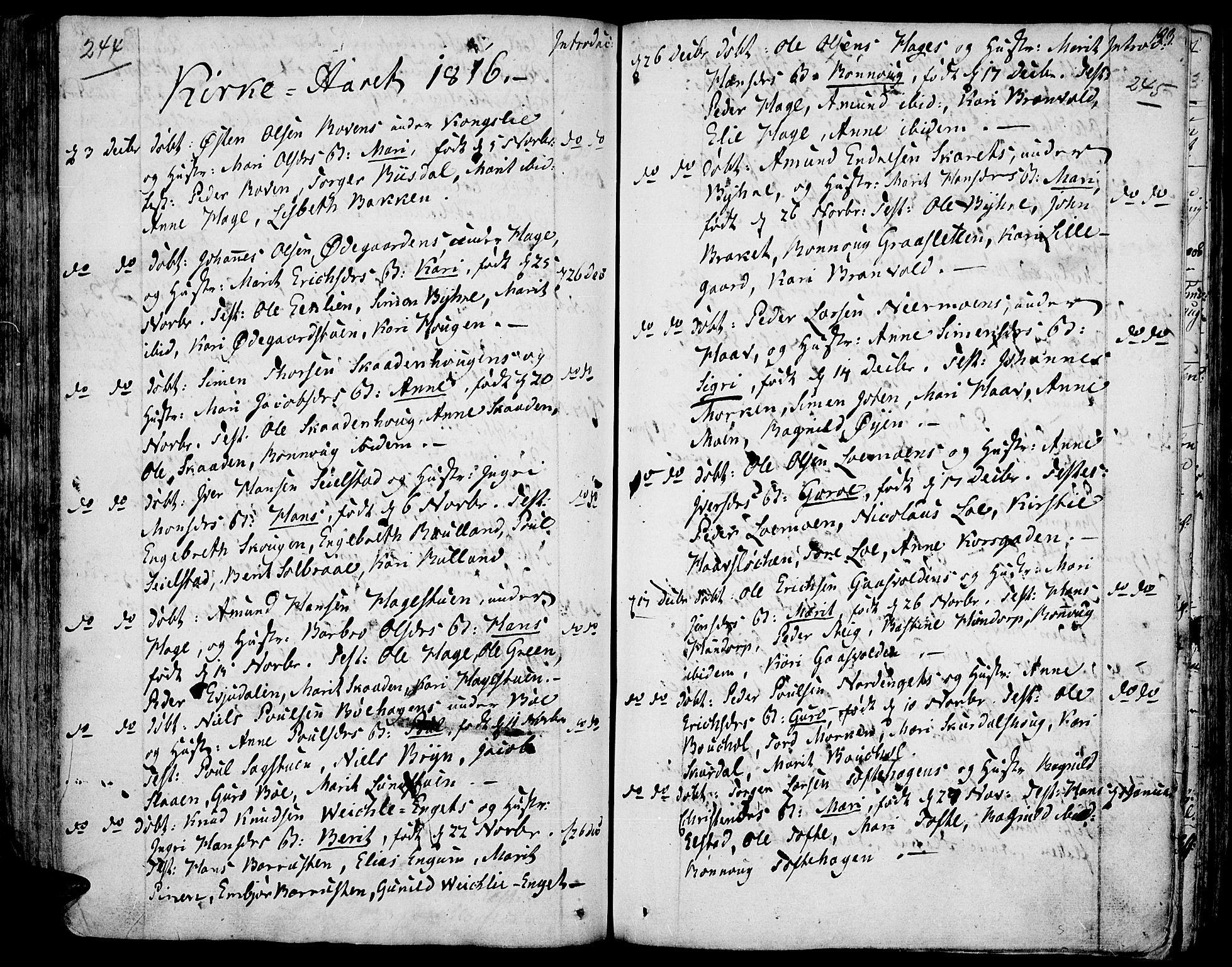 SAH, Fron prestekontor, H/Ha/Haa/L0001: Ministerialbok nr. 1, 1799-1816, s. 244-245