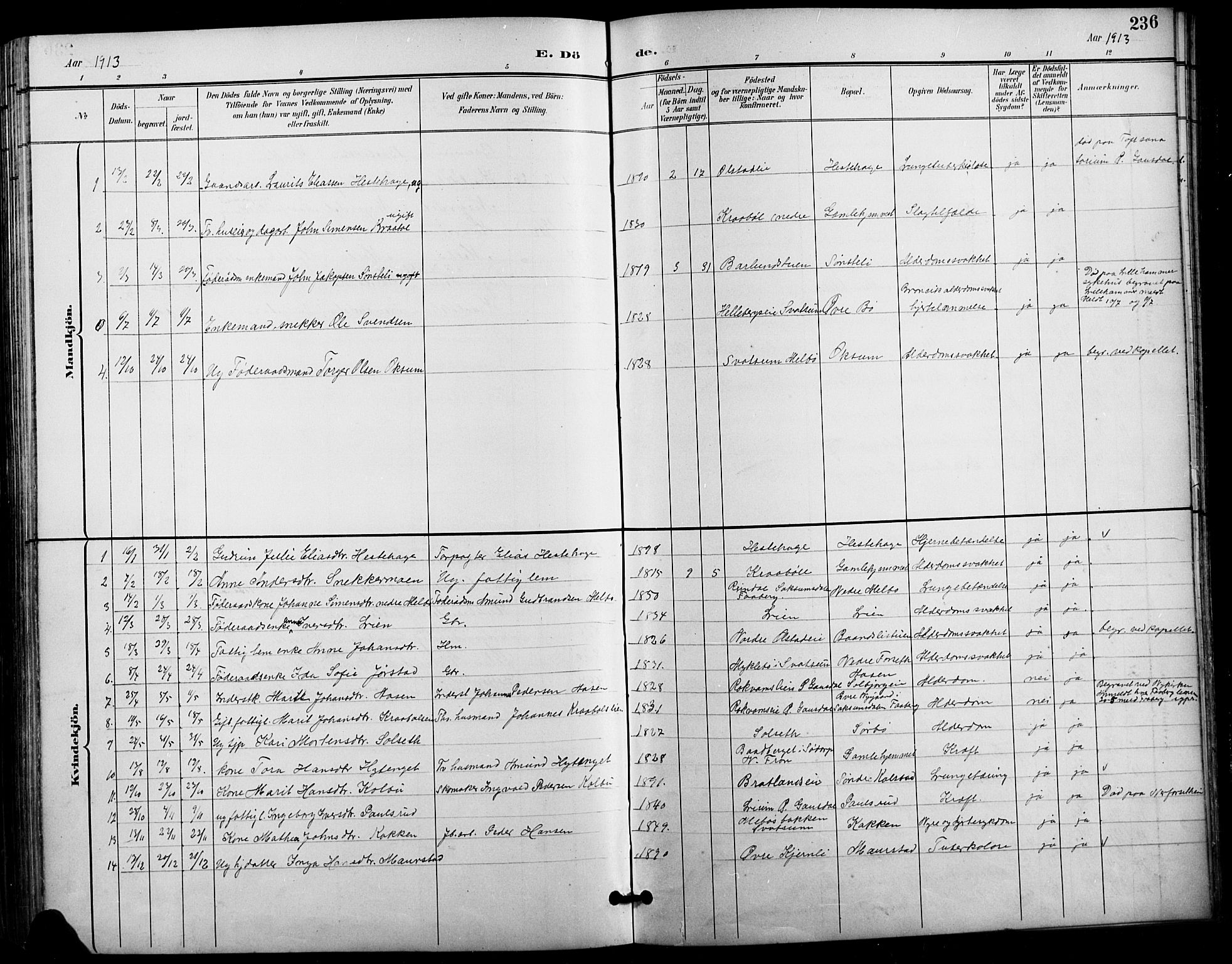 SAH, Vestre Gausdal prestekontor, Klokkerbok nr. 3, 1896-1925, s. 236