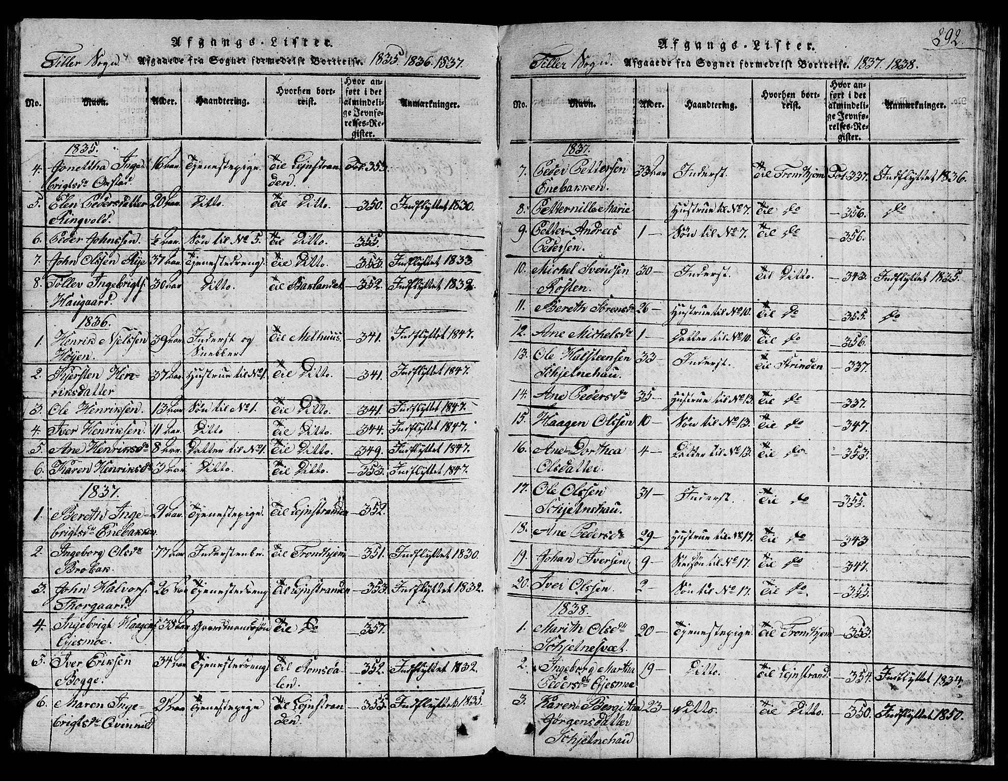 SAT, Ministerialprotokoller, klokkerbøker og fødselsregistre - Sør-Trøndelag, 621/L0458: Klokkerbok nr. 621C01, 1816-1865, s. 292