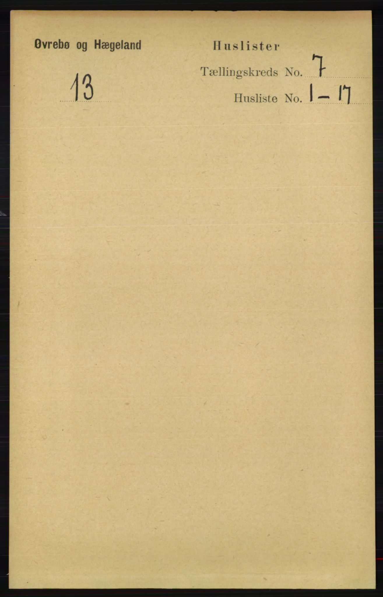 RA, Folketelling 1891 for 1016 Øvrebø og Hægeland herred, 1891, s. 1311