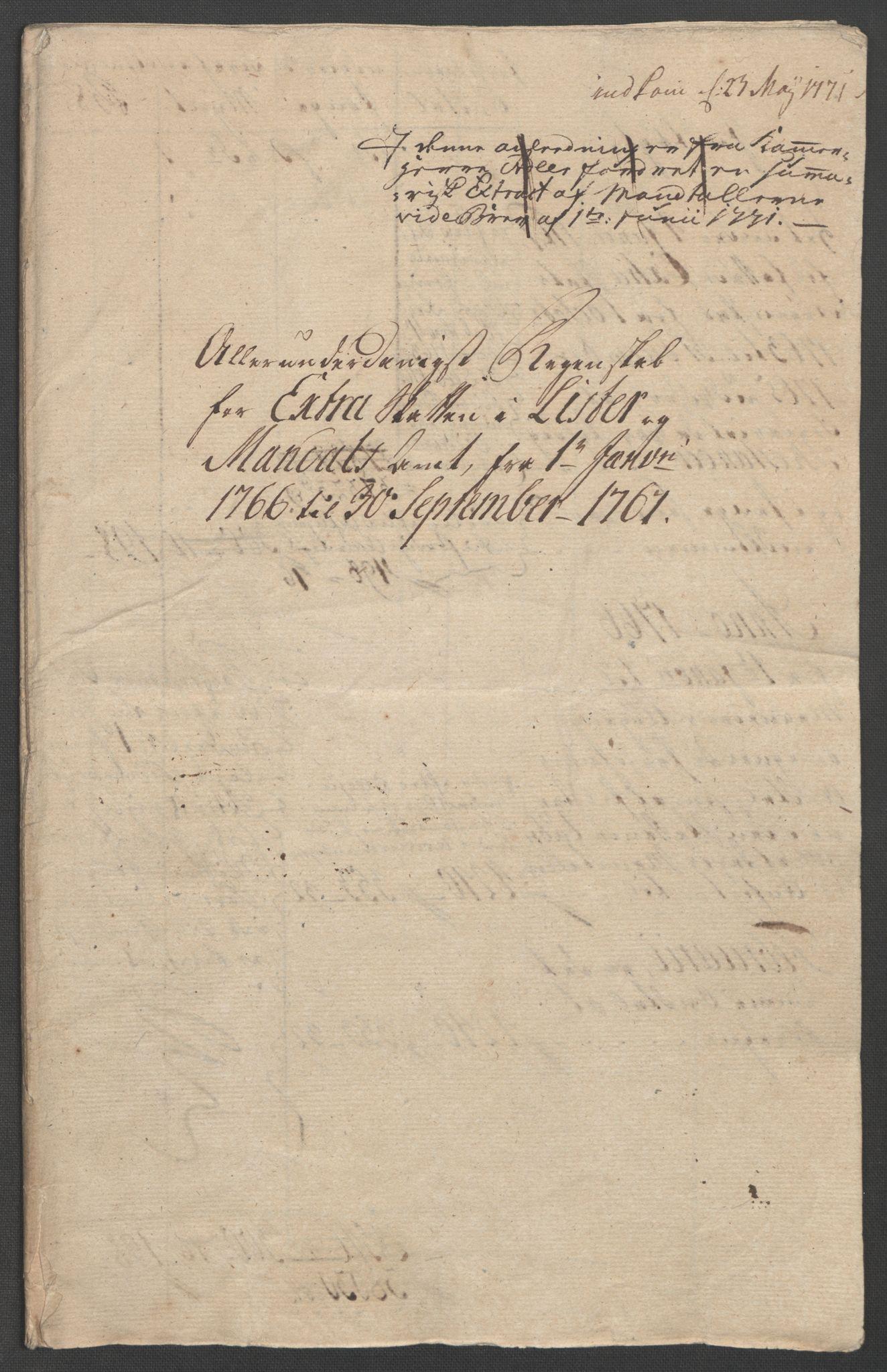 RA, Rentekammeret inntil 1814, Reviderte regnskaper, Fogderegnskap, R45/L2704: Ekstraskatten Lista og Mandal, 1762-1768, s. 209