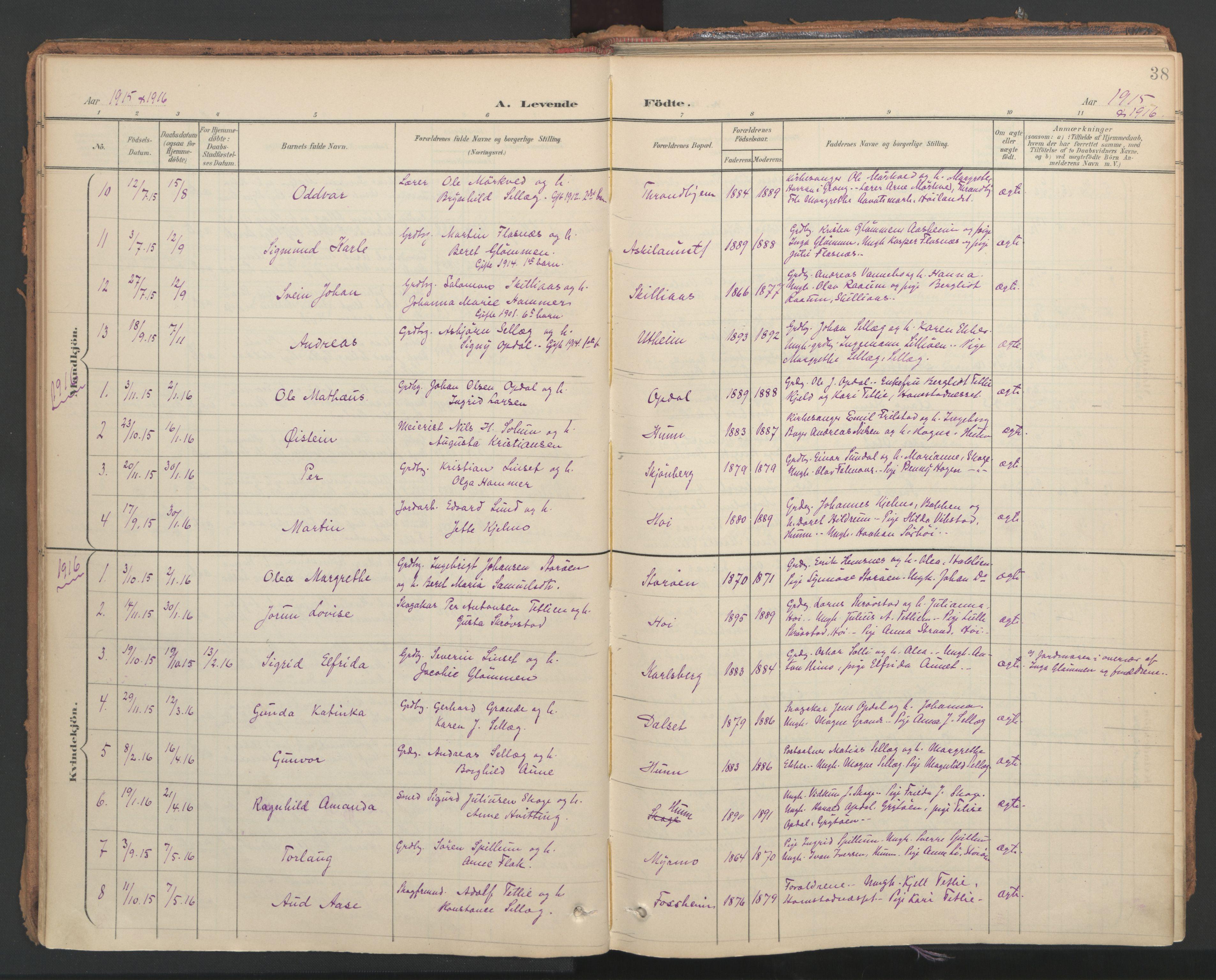 SAT, Ministerialprotokoller, klokkerbøker og fødselsregistre - Nord-Trøndelag, 766/L0564: Ministerialbok nr. 767A02, 1900-1932, s. 38