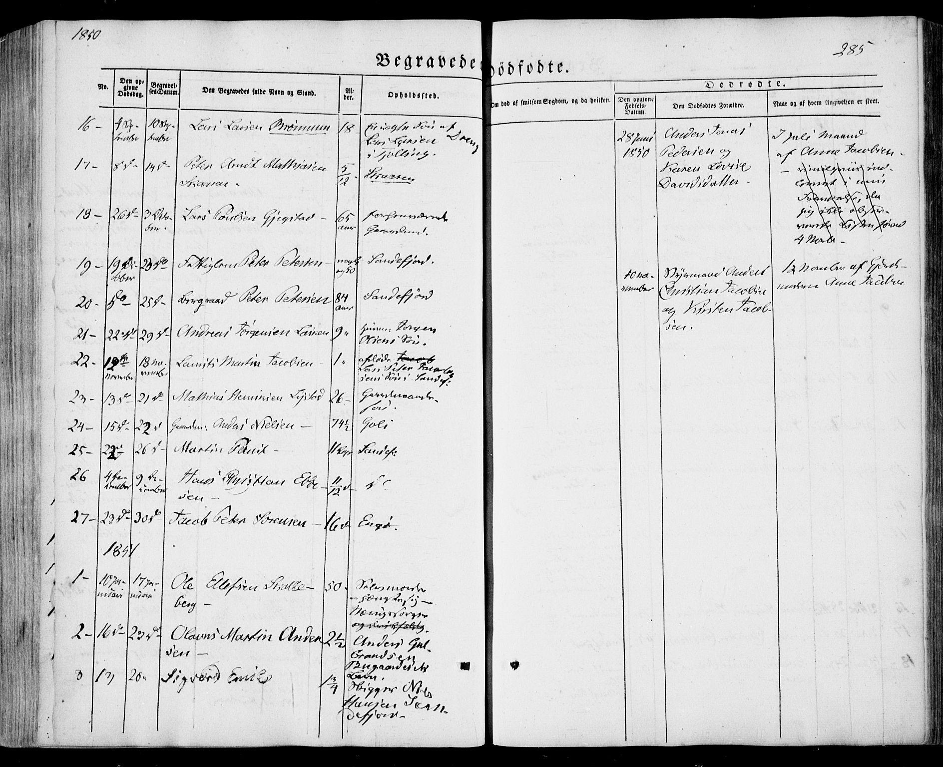 SAKO, Sandar kirkebøker, F/Fa/L0006: Ministerialbok nr. 6, 1847-1860, s. 285