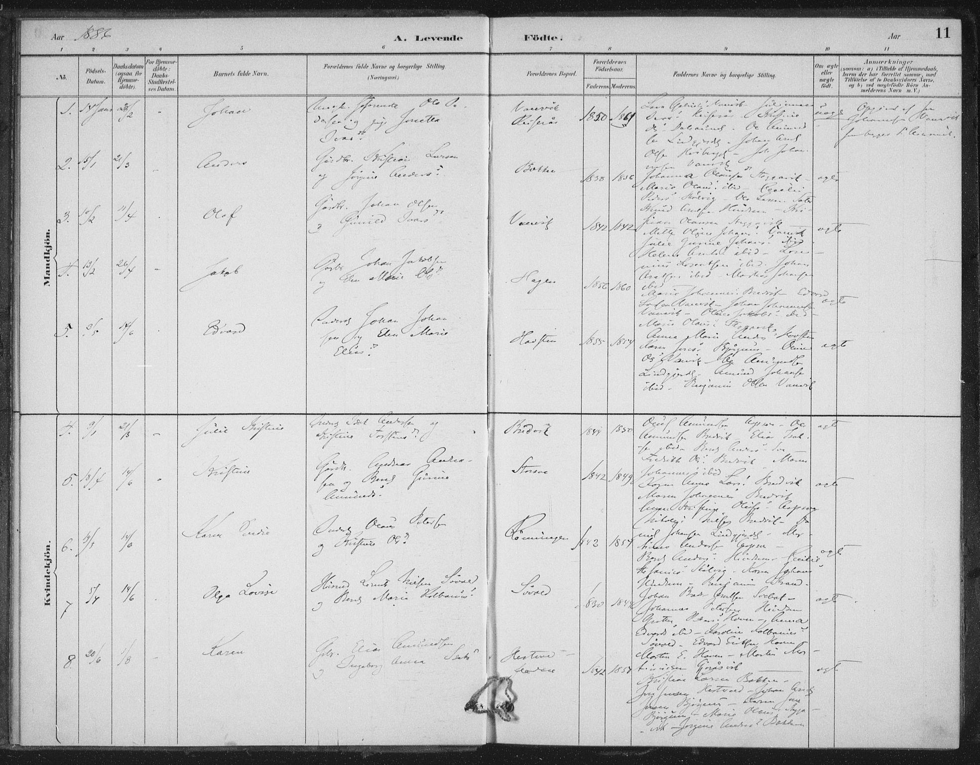 SAT, Ministerialprotokoller, klokkerbøker og fødselsregistre - Nord-Trøndelag, 702/L0023: Ministerialbok nr. 702A01, 1883-1897, s. 11