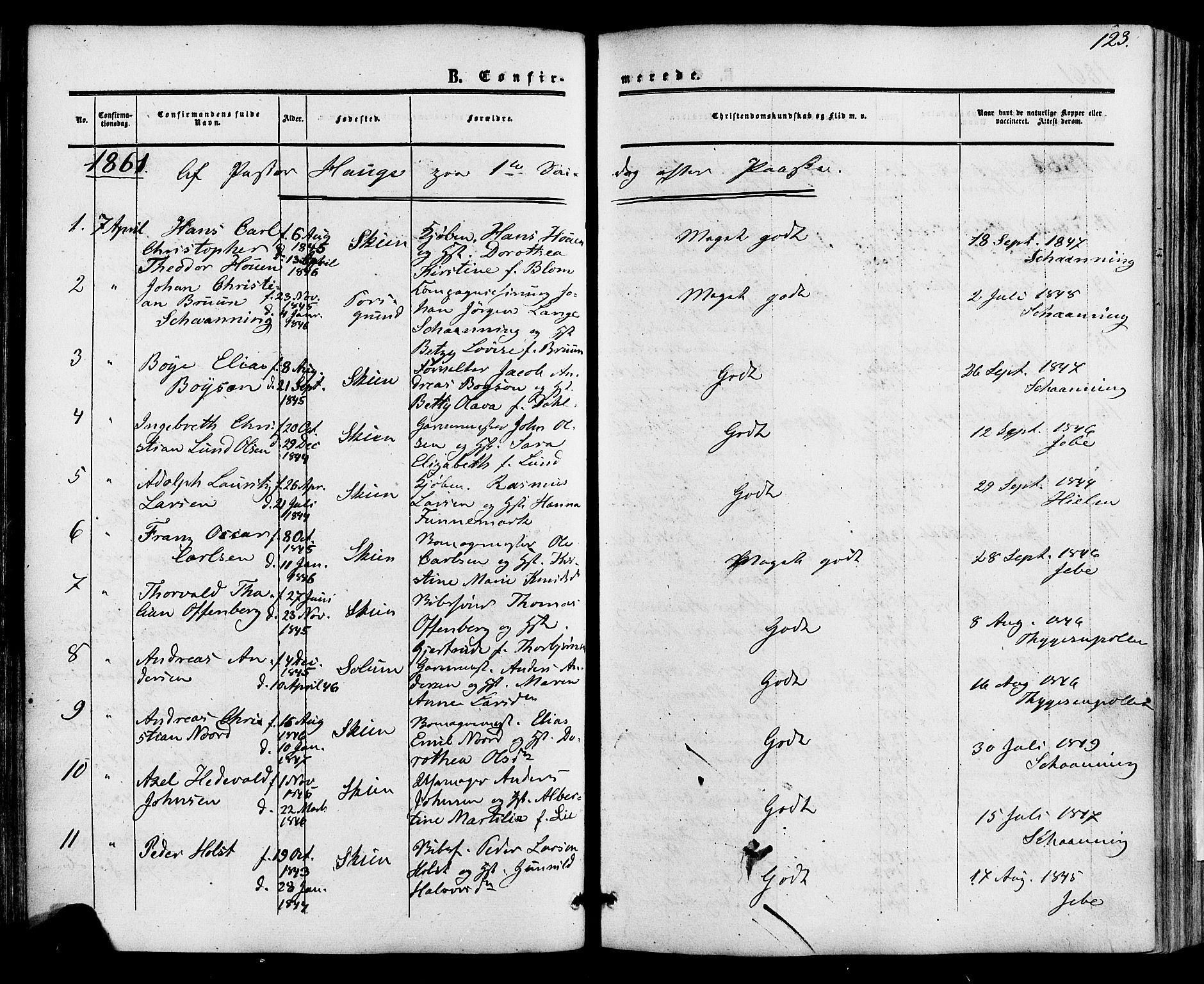 SAKO, Skien kirkebøker, F/Fa/L0007: Ministerialbok nr. 7, 1856-1865, s. 123