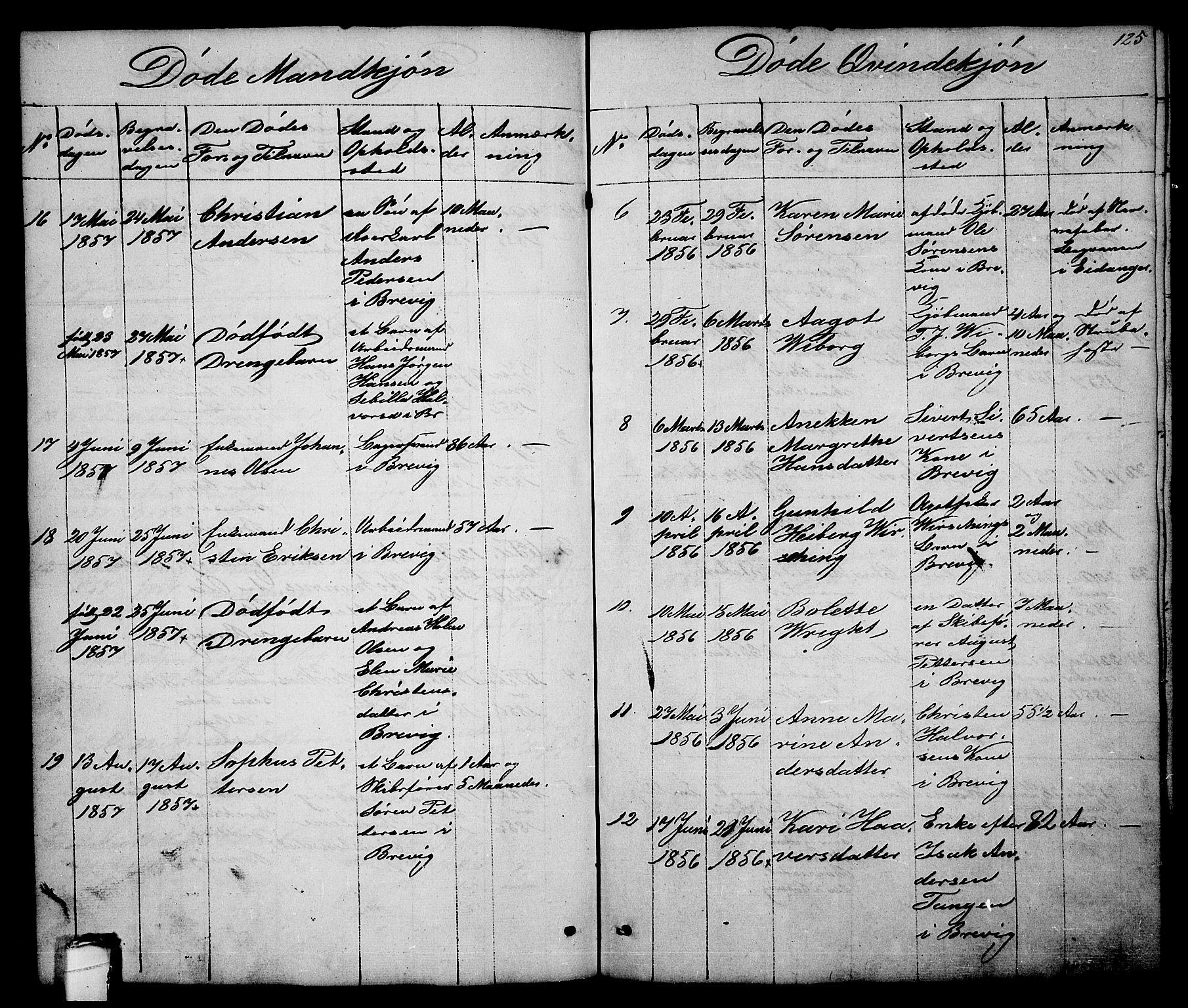 SAKO, Brevik kirkebøker, G/Ga/L0002: Klokkerbok nr. 2, 1846-1865, s. 125