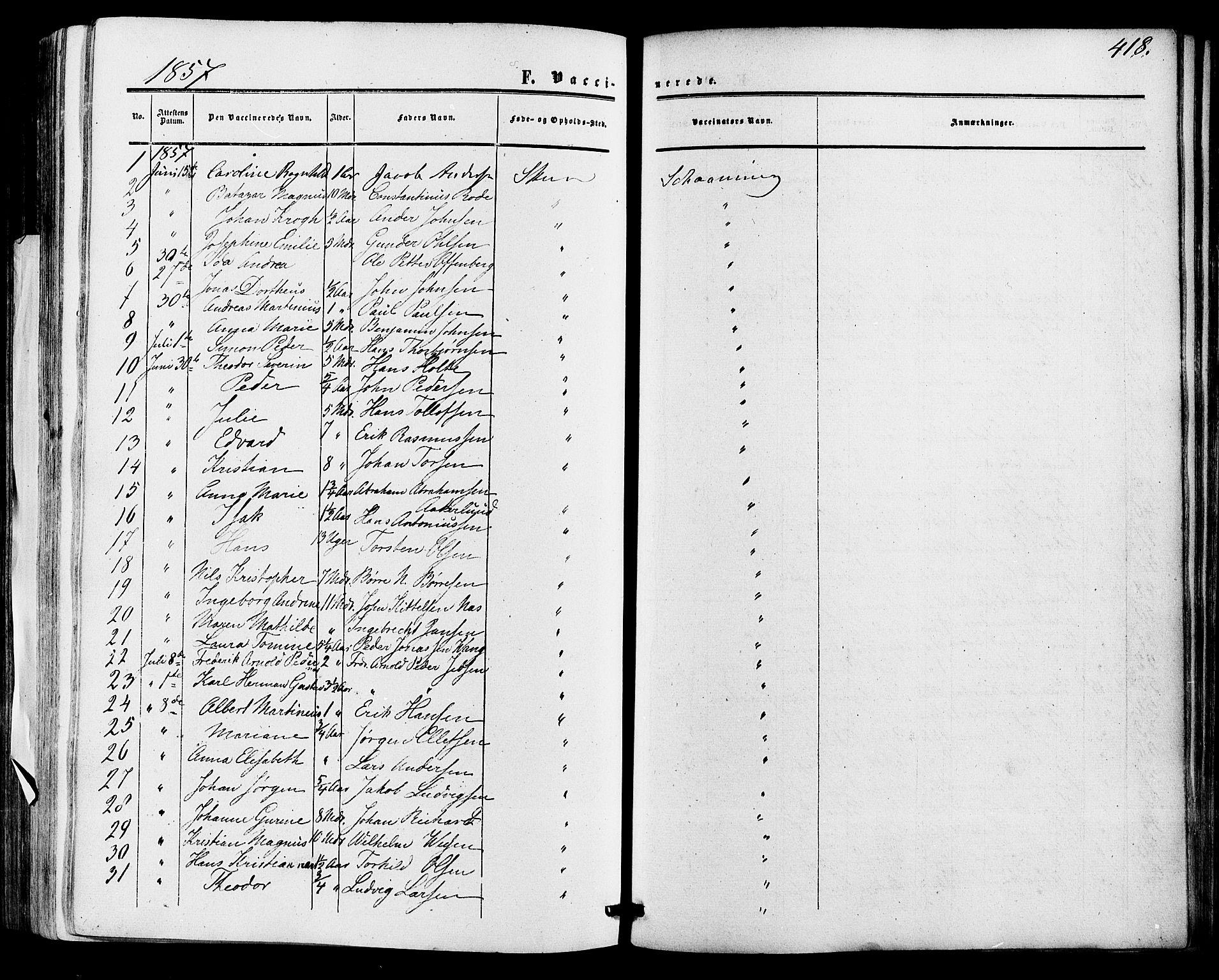 SAKO, Skien kirkebøker, F/Fa/L0007: Ministerialbok nr. 7, 1856-1865, s. 418