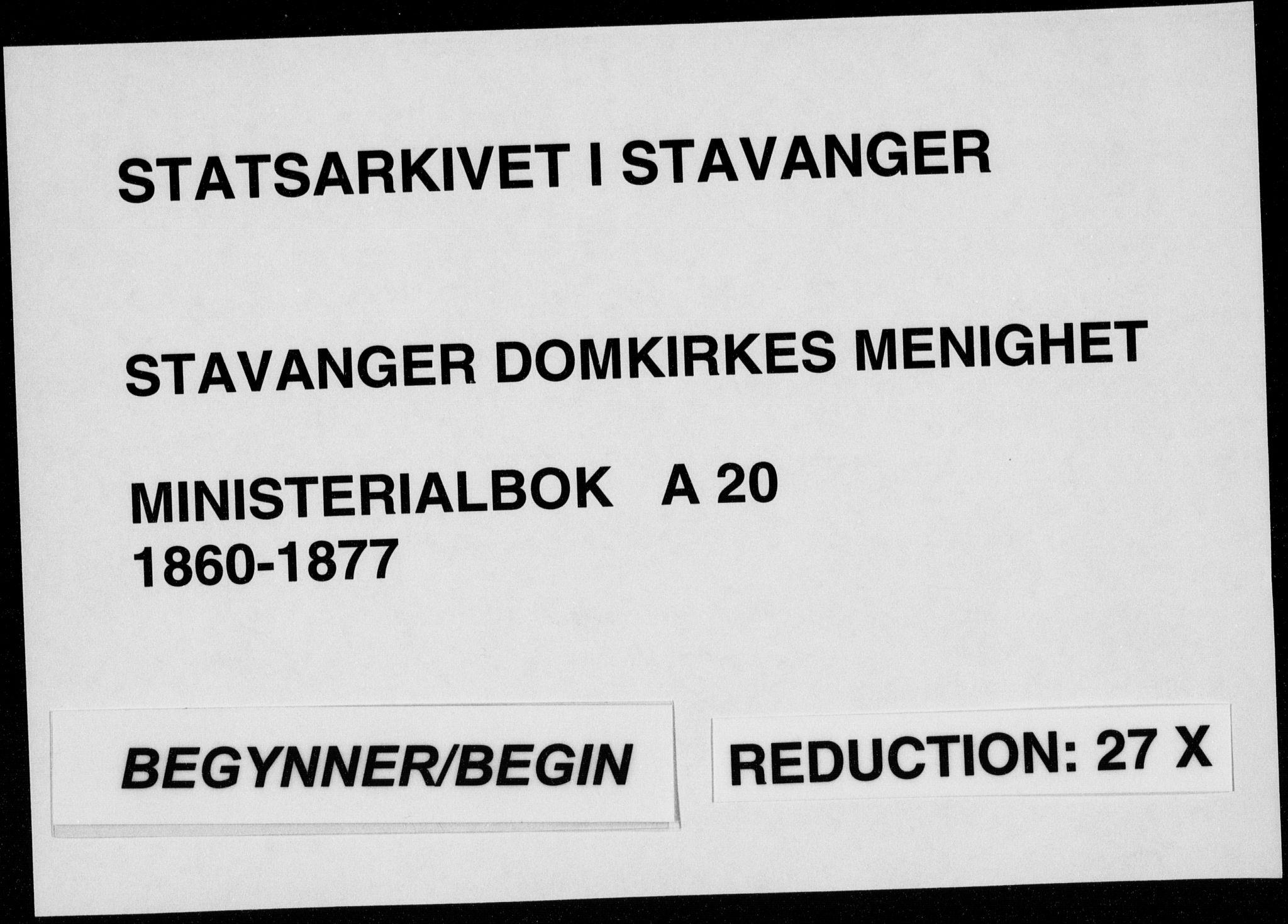 SAST, Domkirken sokneprestkontor, 30/30BA/L0021: Ministerialbok nr. A 20, 1860-1877