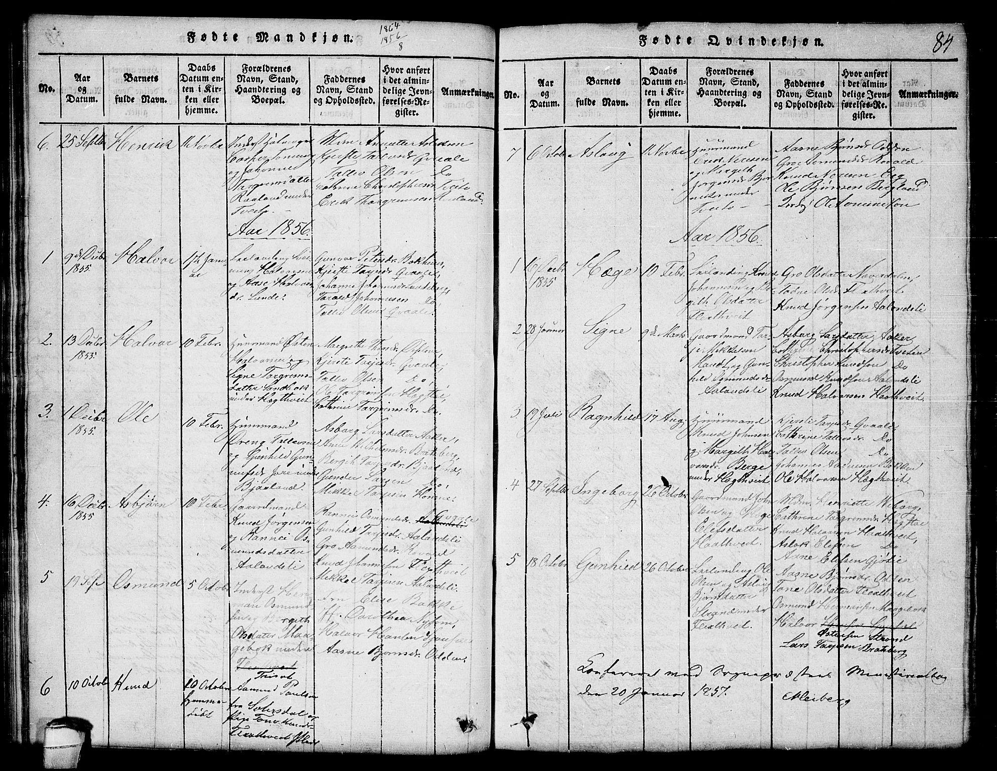 SAKO, Lårdal kirkebøker, G/Ga/L0001: Klokkerbok nr. I 1, 1815-1861, s. 84