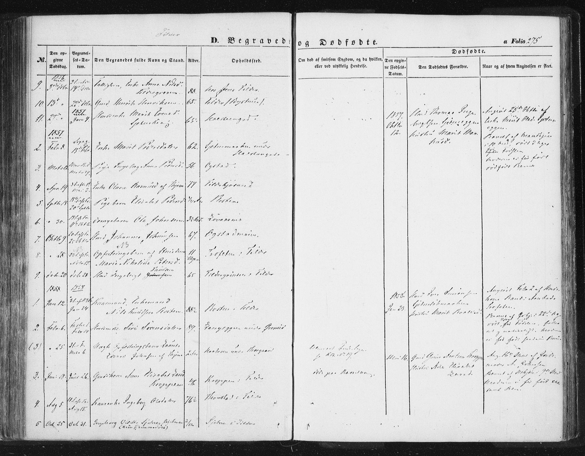 SAT, Ministerialprotokoller, klokkerbøker og fødselsregistre - Sør-Trøndelag, 618/L0441: Ministerialbok nr. 618A05, 1843-1862, s. 275