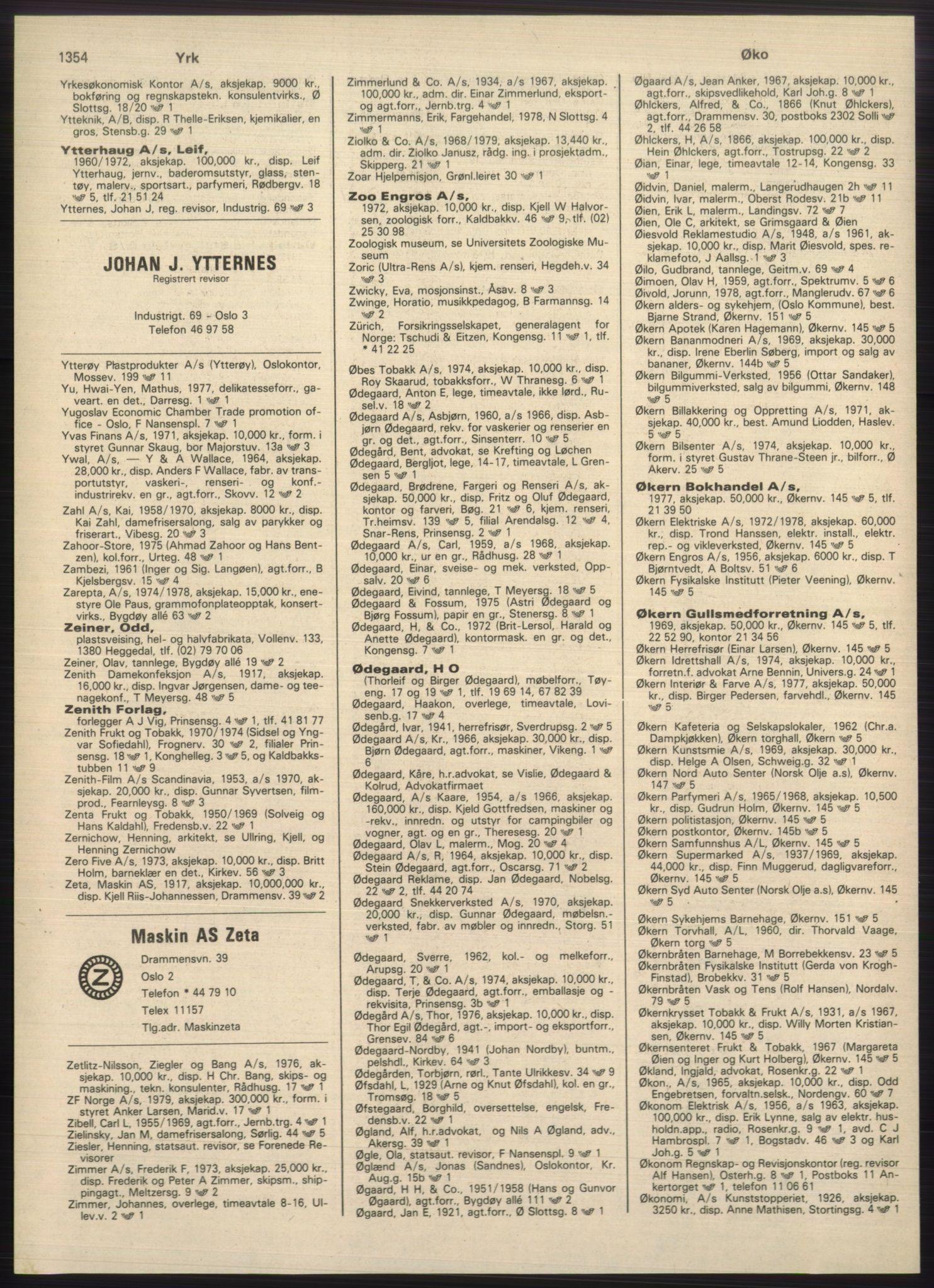 PUBL, Kristiania/Oslo adressebok, 1980-1981, s. 1354