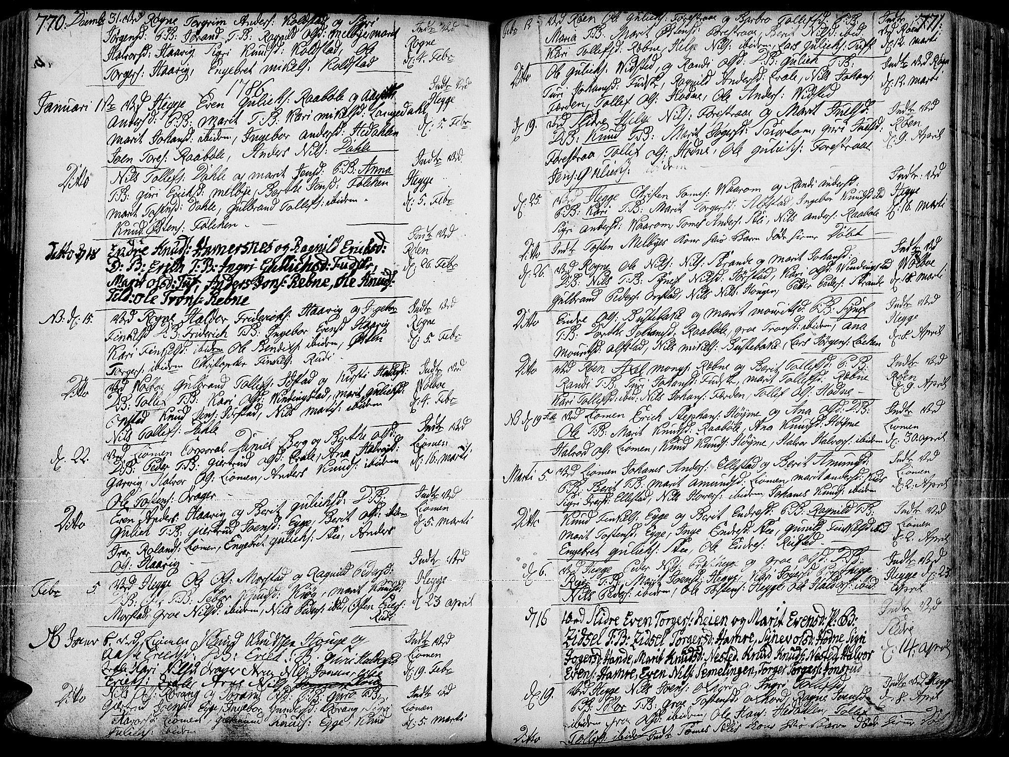 SAH, Slidre prestekontor, Ministerialbok nr. 1, 1724-1814, s. 770-771