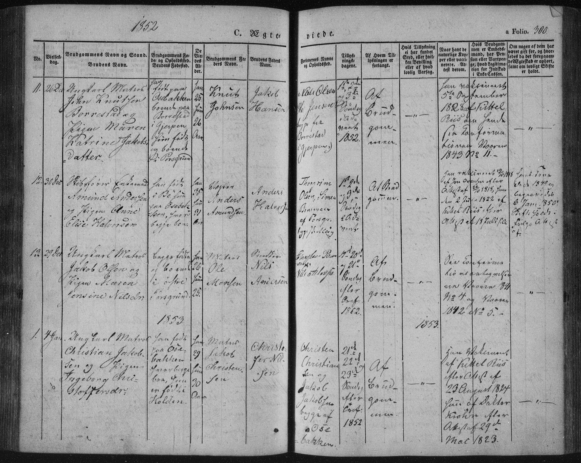 SAKO, Porsgrunn kirkebøker , F/Fa/L0006: Ministerialbok nr. 6, 1841-1857, s. 300