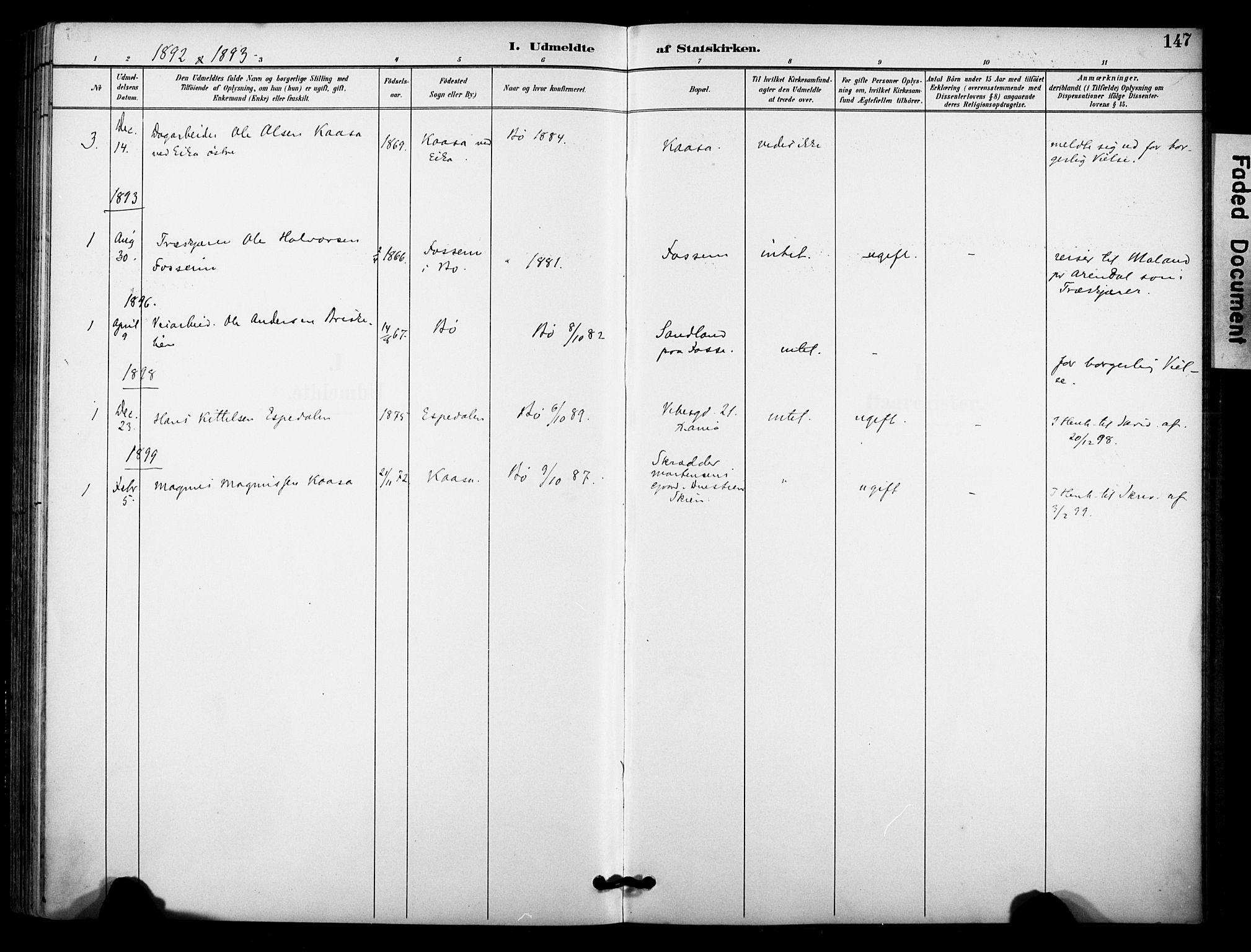 SAKO, Bø kirkebøker, F/Fa/L0011: Ministerialbok nr. 11, 1892-1900, s. 147