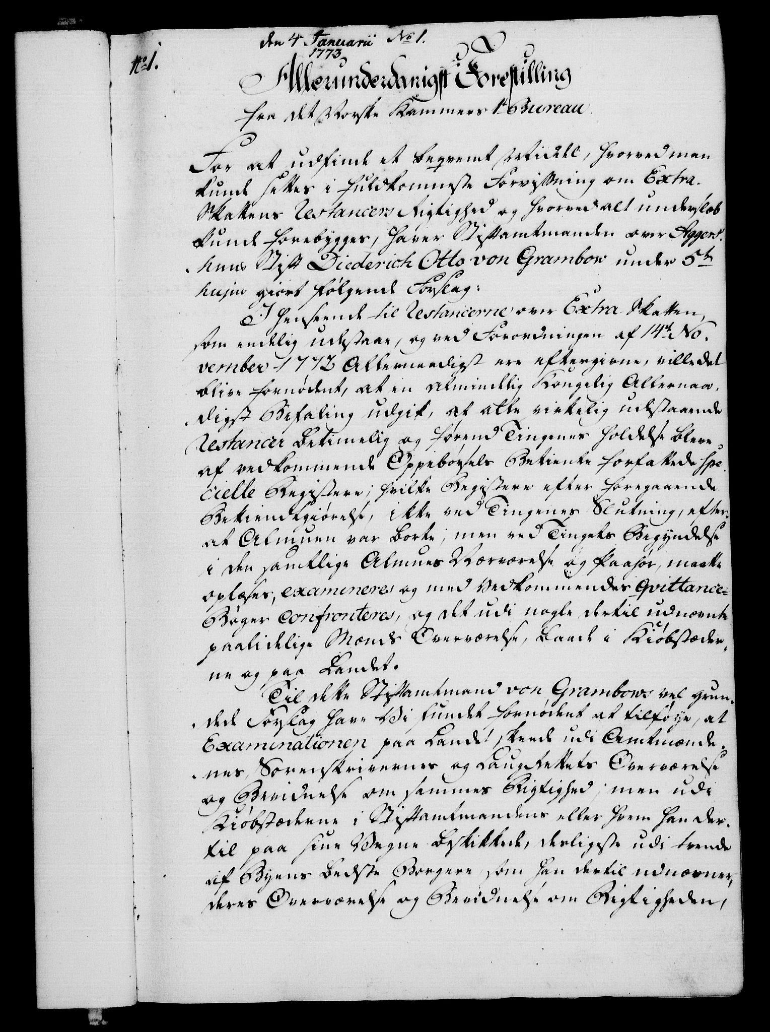 RA, Rentekammeret, Kammerkanselliet, G/Gf/Gfa/L0055: Norsk relasjons- og resolusjonsprotokoll (merket RK 52.55), 1773, s. 19
