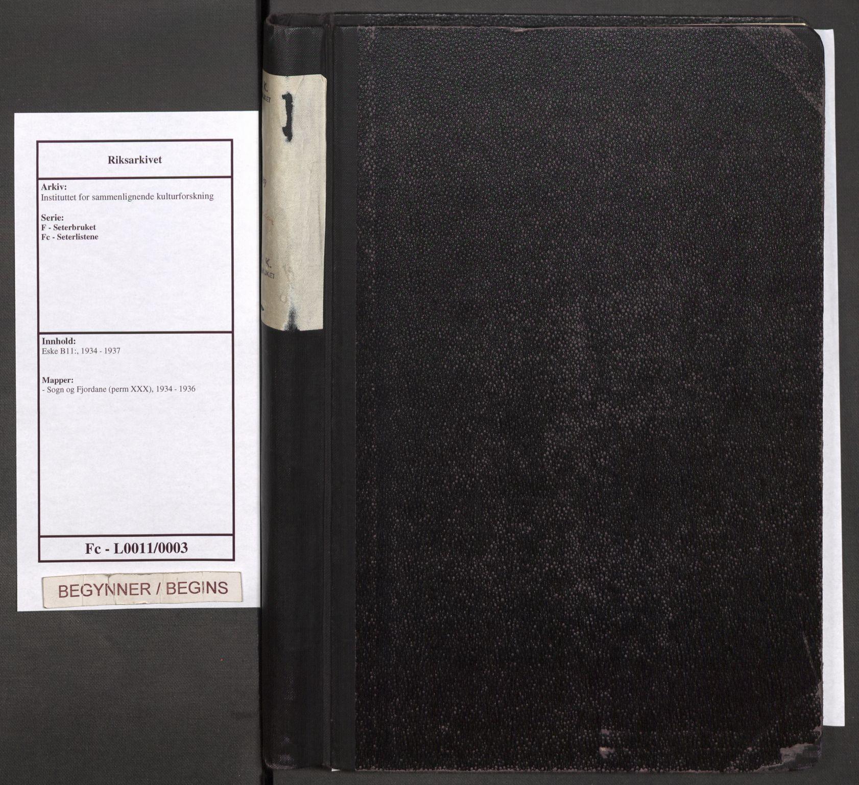 RA, Instituttet for sammenlignende kulturforskning, F/Fc/L0011: Eske B11:, 1934-1936, s. upaginert