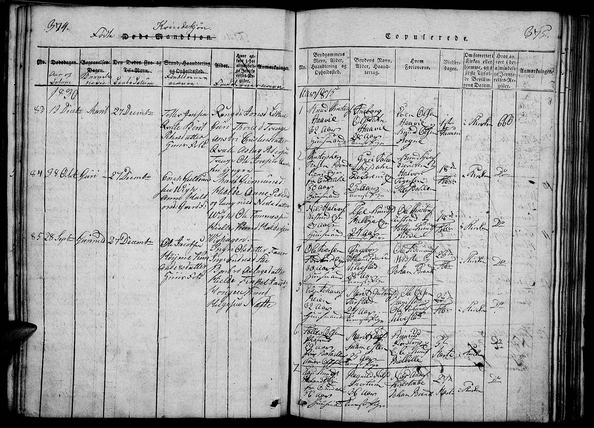 SAH, Slidre prestekontor, Ministerialbok nr. 2, 1814-1830, s. 374-375