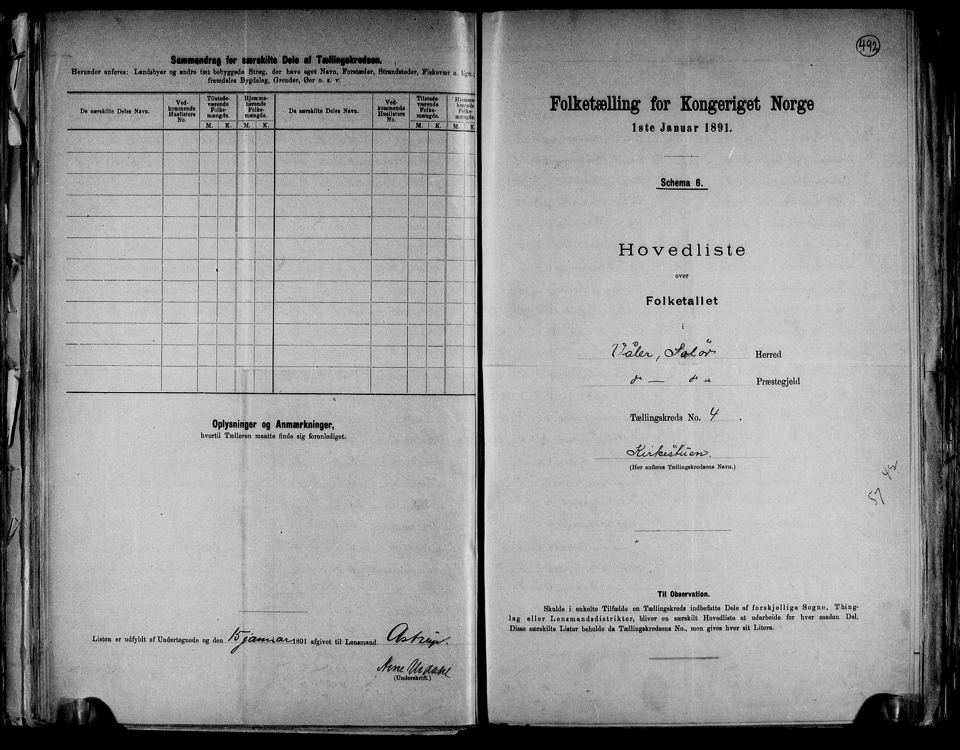 RA, Folketelling 1891 for 0426 Våler herred, 1891, s. 10