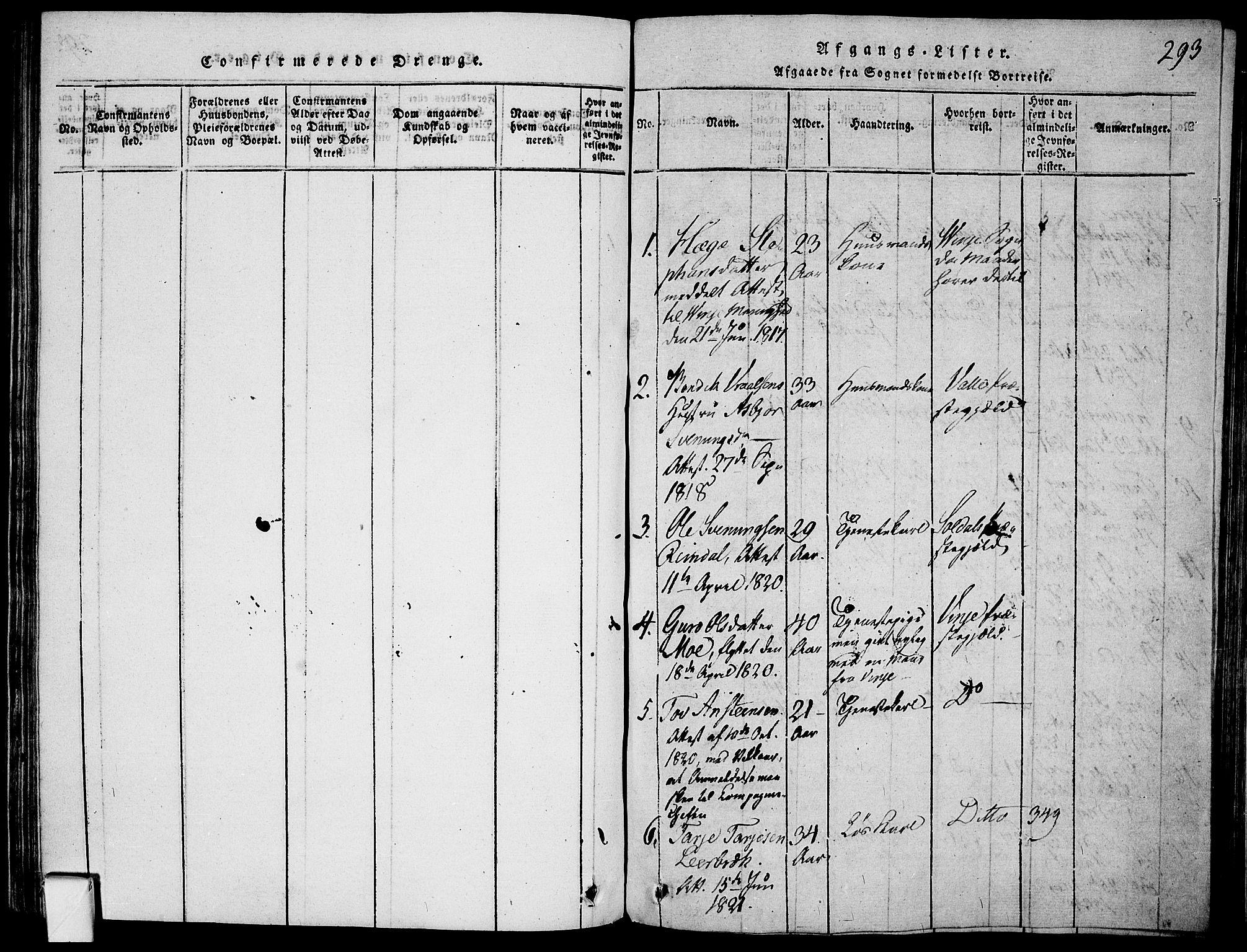 SAKO, Mo kirkebøker, F/Fa/L0004: Ministerialbok nr. I 4, 1814-1844, s. 293