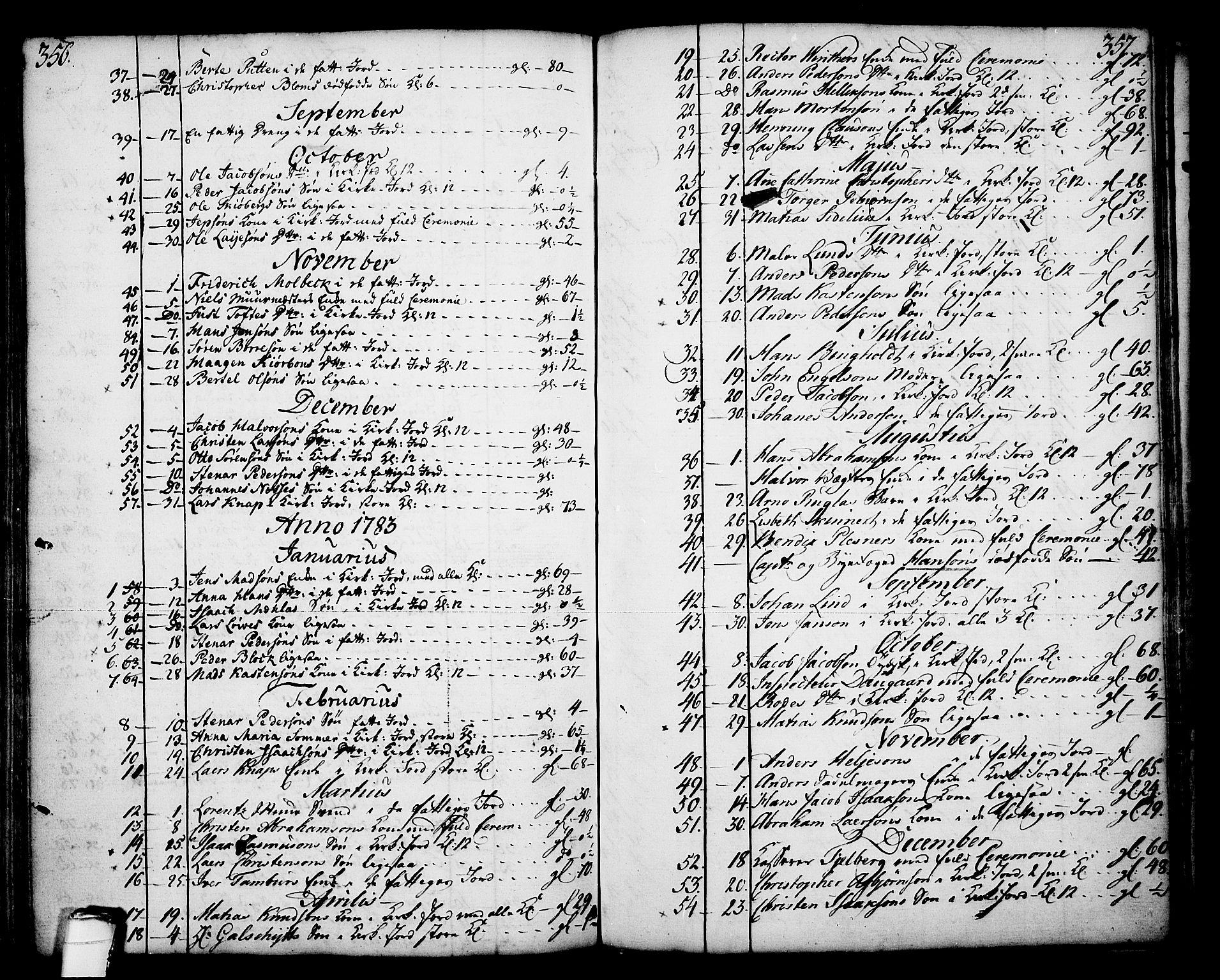 SAKO, Skien kirkebøker, F/Fa/L0003: Ministerialbok nr. 3, 1755-1791, s. 356-357