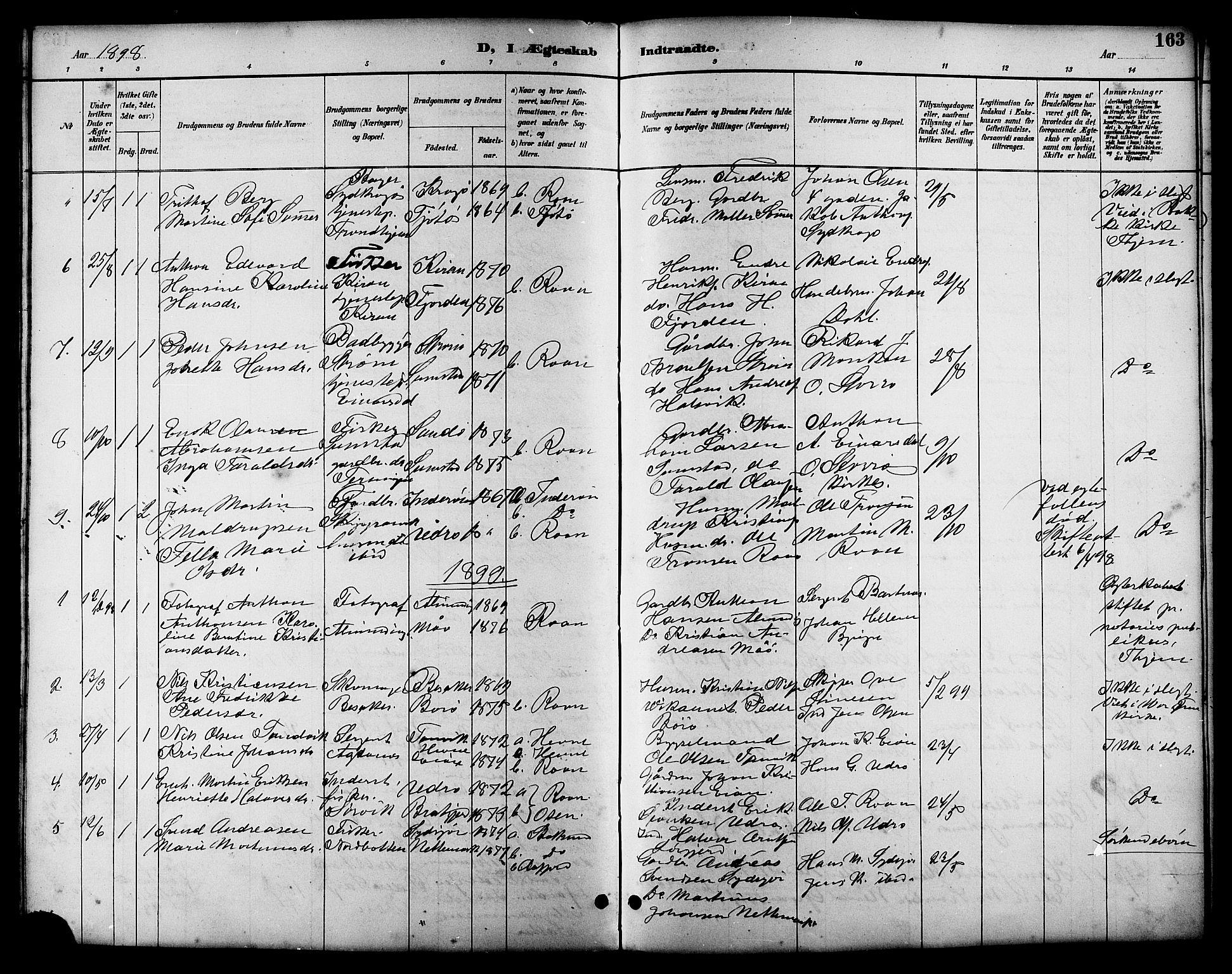 SAT, Ministerialprotokoller, klokkerbøker og fødselsregistre - Sør-Trøndelag, 657/L0716: Klokkerbok nr. 657C03, 1889-1904, s. 163