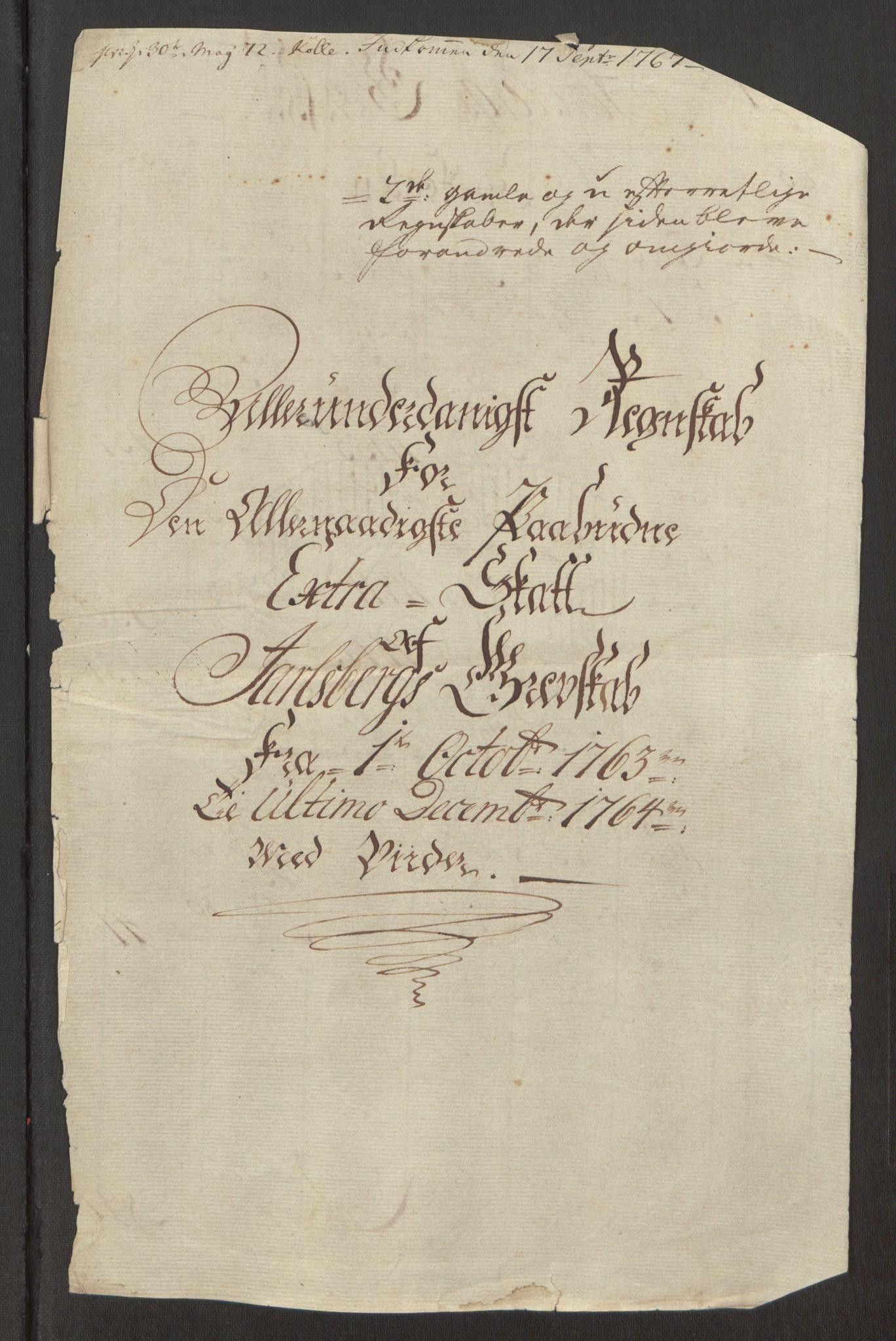 RA, Rentekammeret inntil 1814, Reviderte regnskaper, Fogderegnskap, R32/L1960: Ekstraskatten Jarlsberg grevskap, 1762-1772, s. 44
