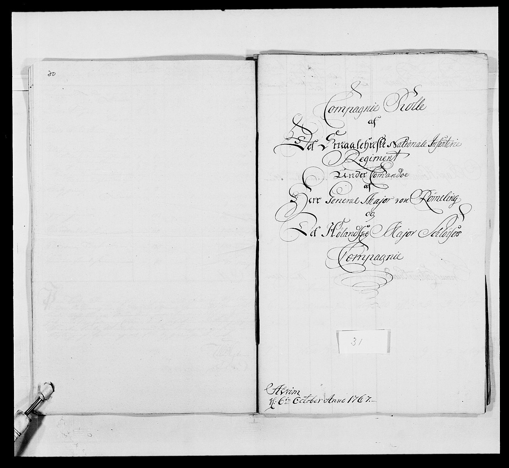 RA, Kommanderende general (KG I) med Det norske krigsdirektorium, E/Ea/L0496: 1. Smålenske regiment, 1765-1767, s. 573