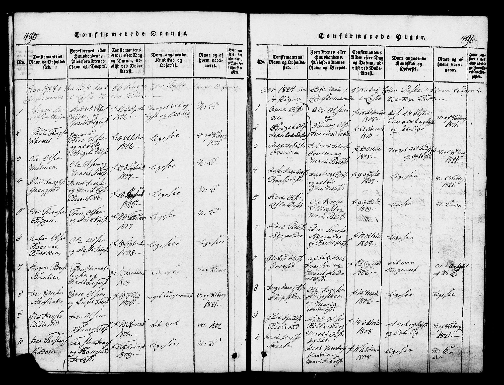 SAH, Lesja prestekontor, Klokkerbok nr. 1, 1820-1831, s. 490-491